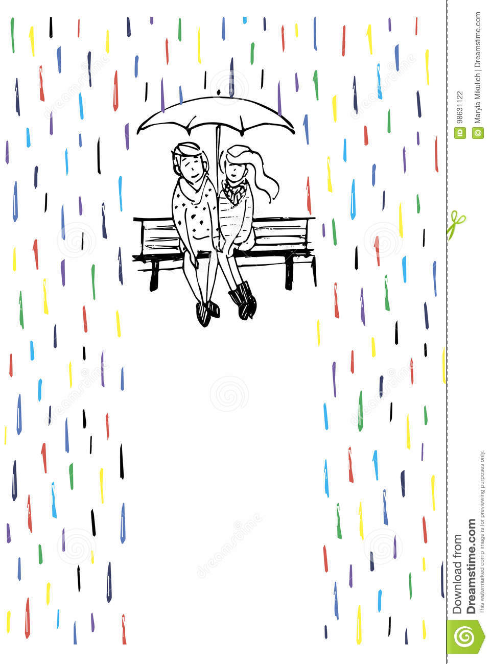 Rendezvous in the rain. Couple in love sitting on the bench.