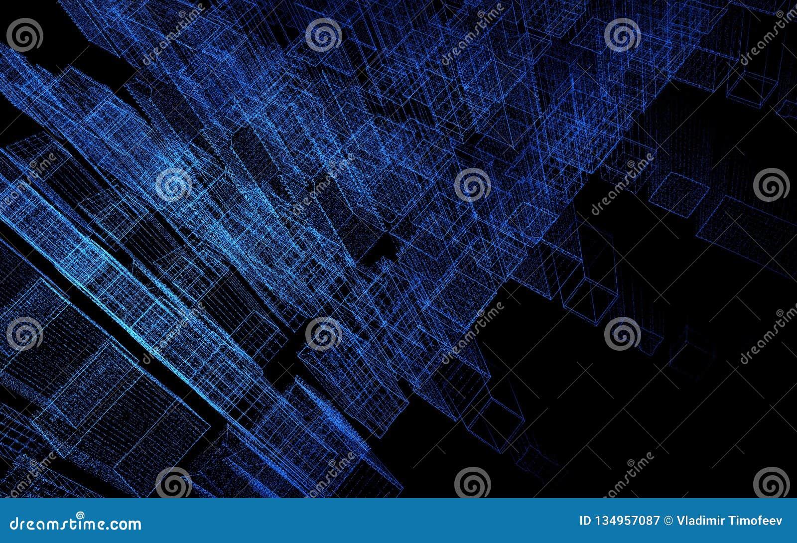 Rendição abstrata da cidade 3d com pontos e elementos digitais Conceito da tecnologia ilustração 3D
