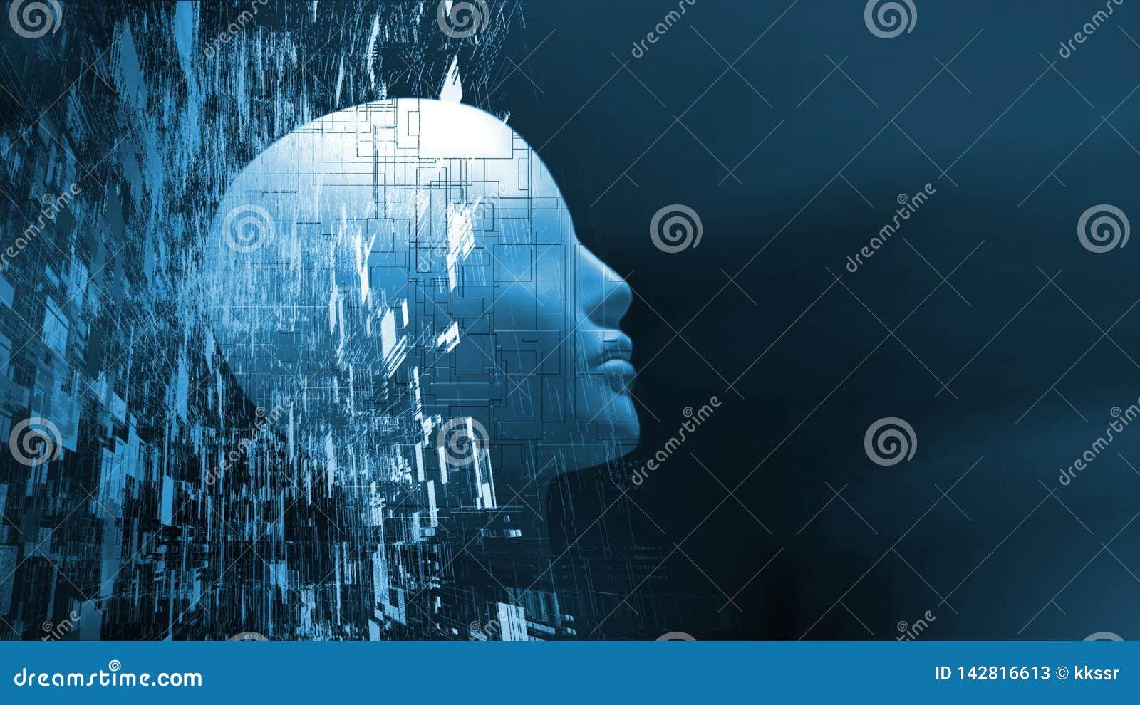 Rendição 3D da cabeça do robô com fundo abstrato da tecnologia Conceito para a inteligência artificial
