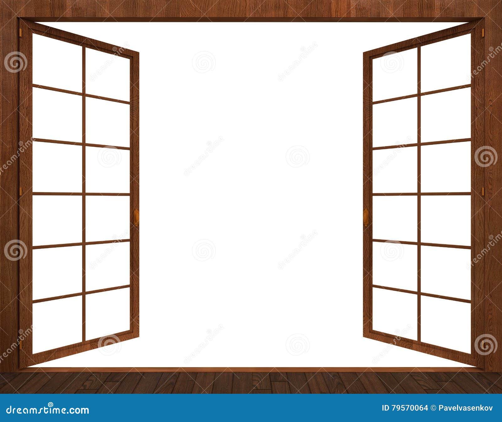 Open Window Clipart Clipart Suggest: Rendição 3d Da Janela De Madeira Aberta Em Um Fundo Branco