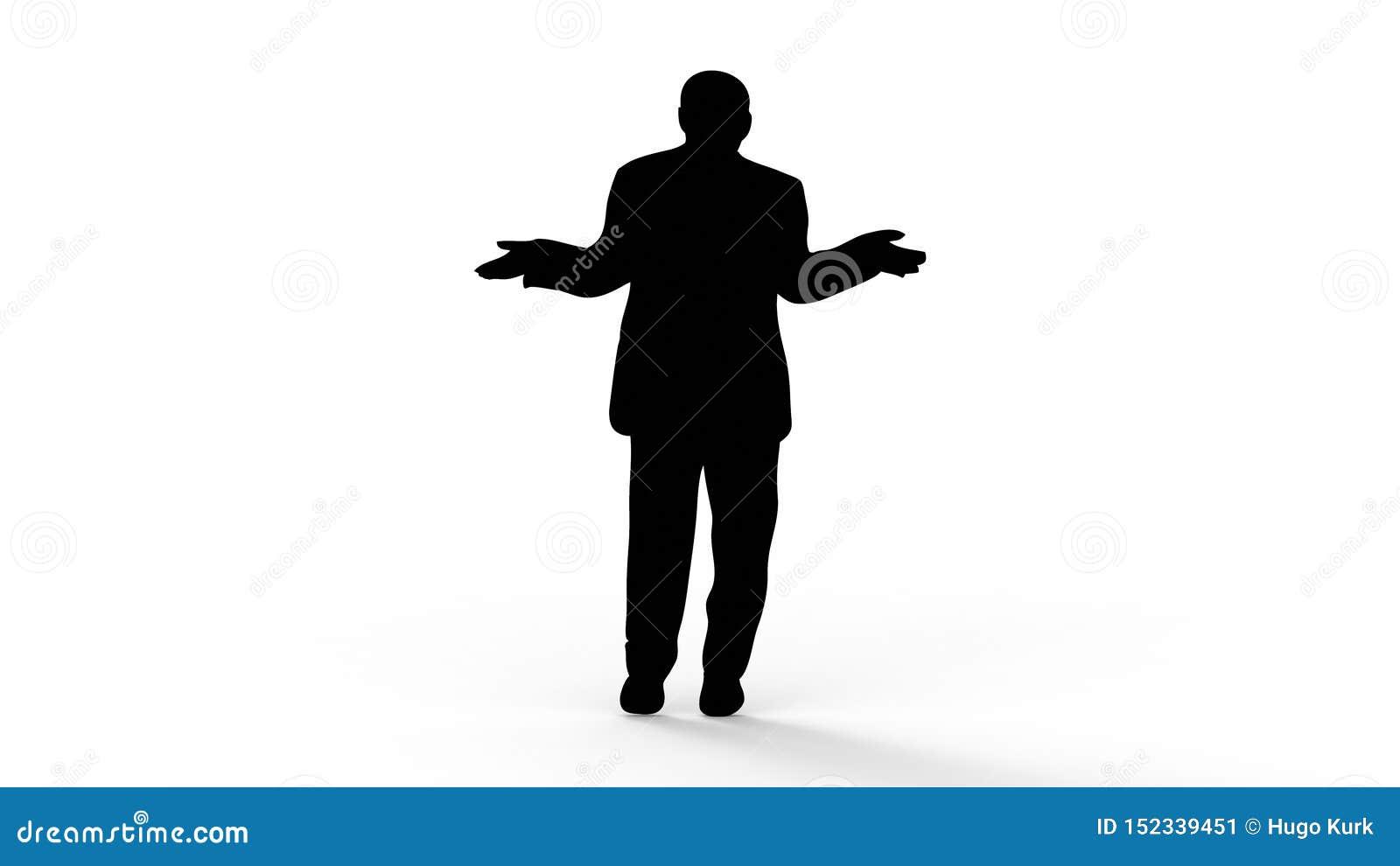 Rendição 3d da silhueta de uma pessoa isolada no fundo branco