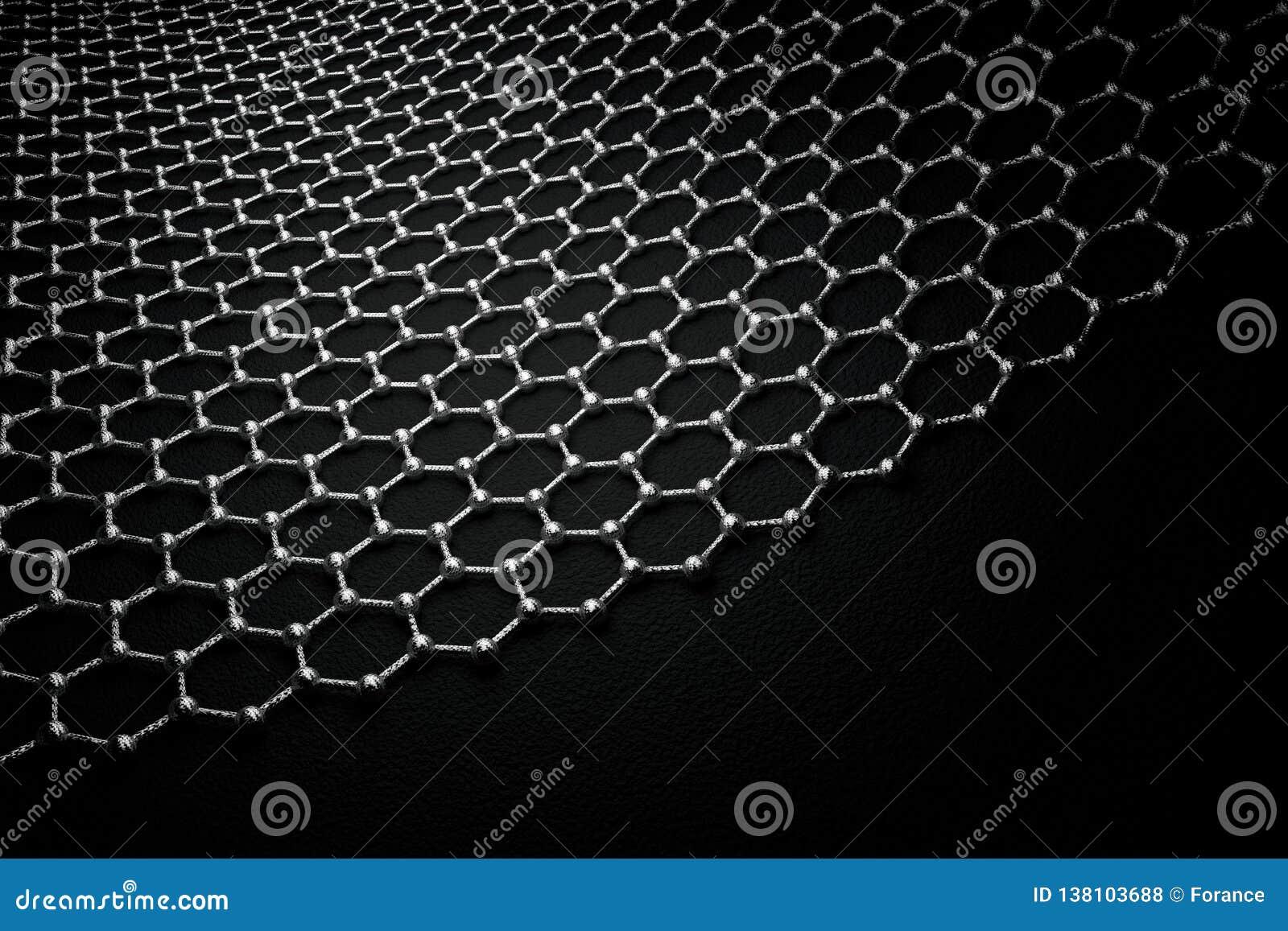 Rendição 3D da superfície do graphene, de átomos cinzentos e de ligações com estrutura do carbono
