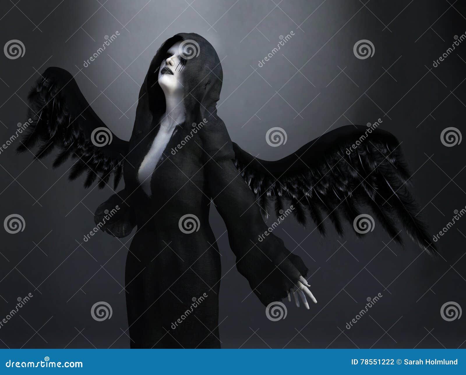 Rendição 3D de um anjo de morte