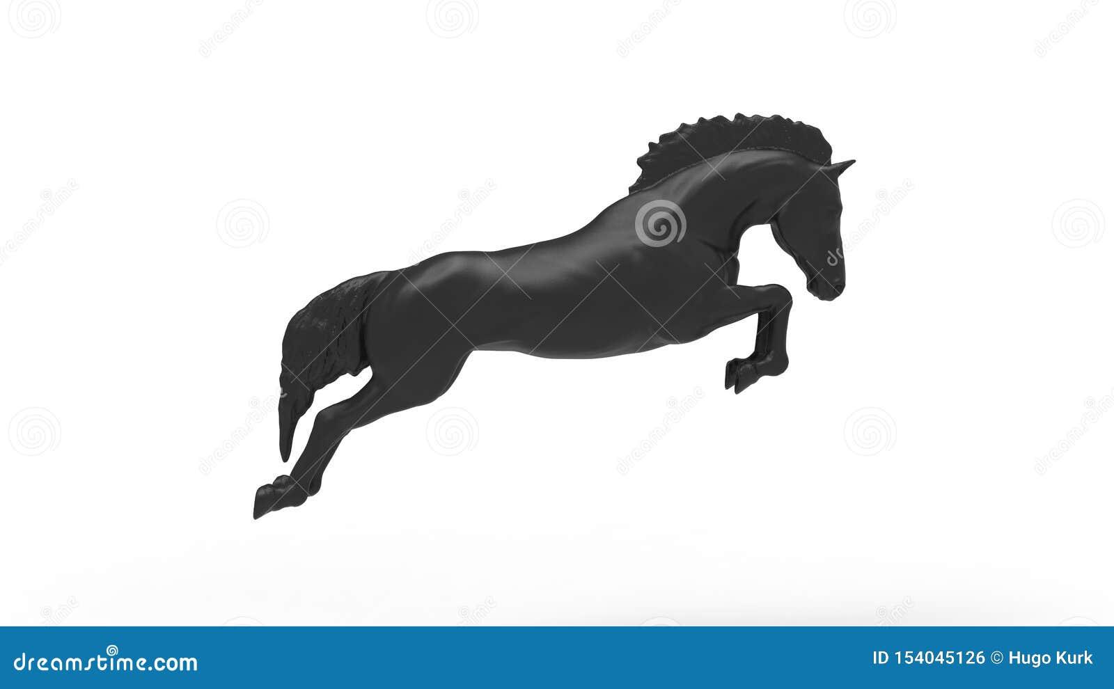 Rendição 3d de um cavalo de salto isolado no fundo branco