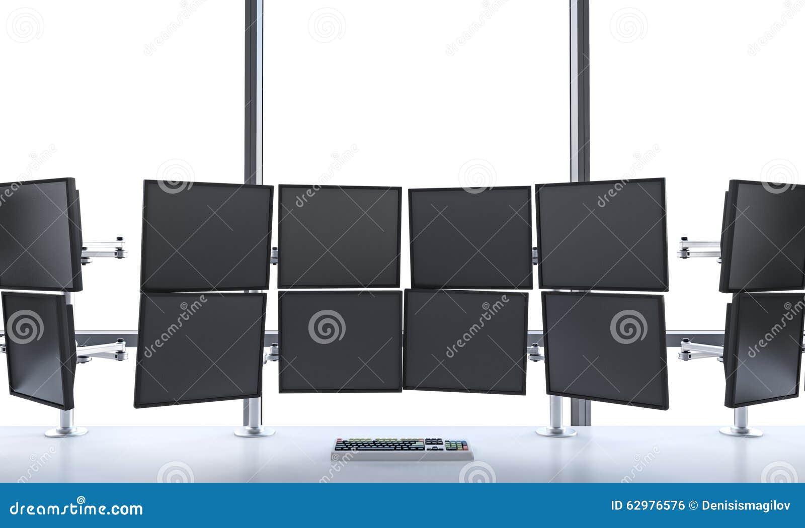 A rendição 3D do escritório com desligado monitora