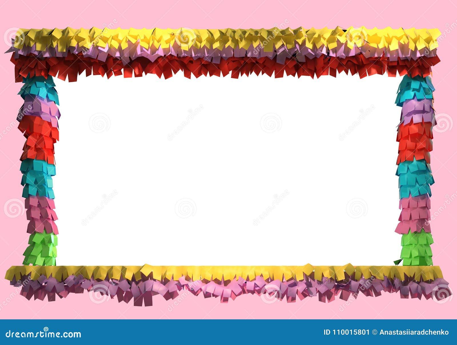 Decoração do Pinata 3d Tema mexicano colorido da festa Quadro a ilustração  para cartões de aniversário ea5b517a5cb