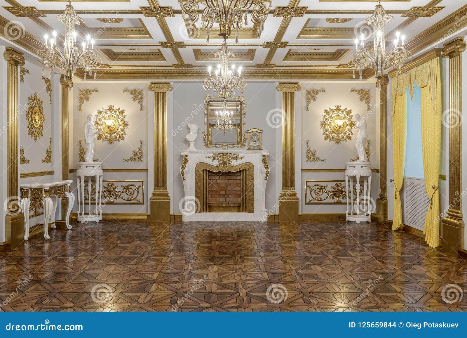 Rendição 3d do salão no renderer clássico da corona do cinema 4D do estilo