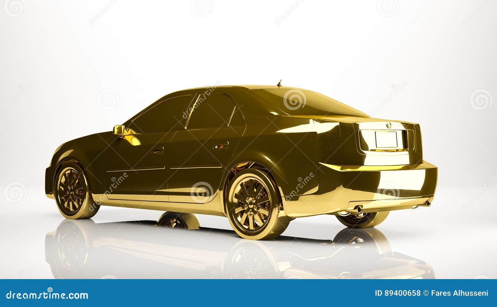 Rendição 3d dourada de um carro dentro de um estúdio