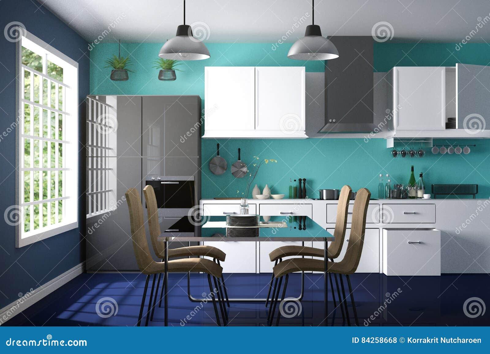 Rendi O 3d Ilustra O Da Sala Interior Da Cozinha Da Cor Moderna