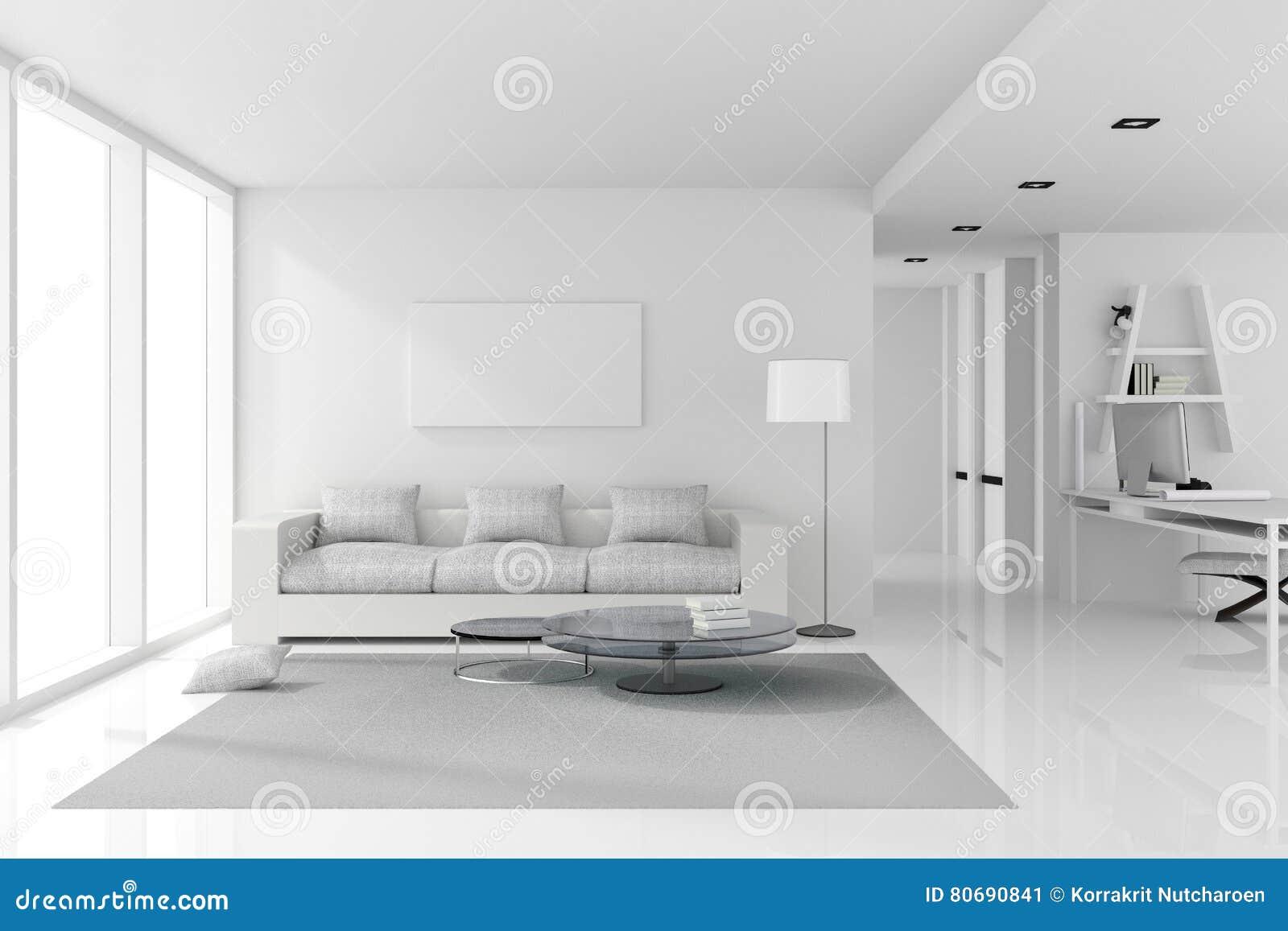 Rendi O 3d Ilustra O Do Design De Interiores Branco Da
