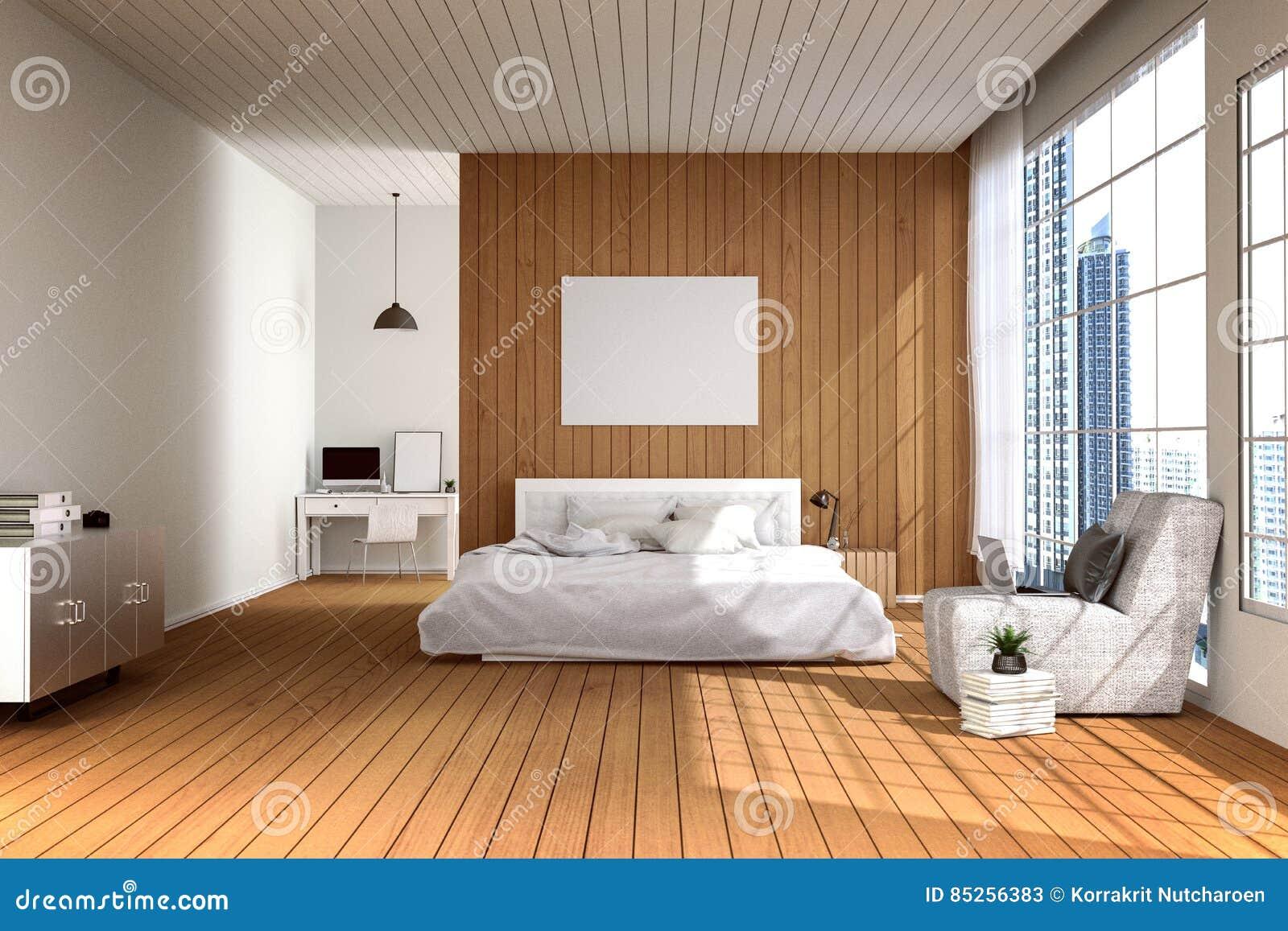 Rendi O 3d Ilustra O Do Quarto Espa Oso Grande Na Cor De Luz  ~ Imagem De Quarto De Casal Moderno
