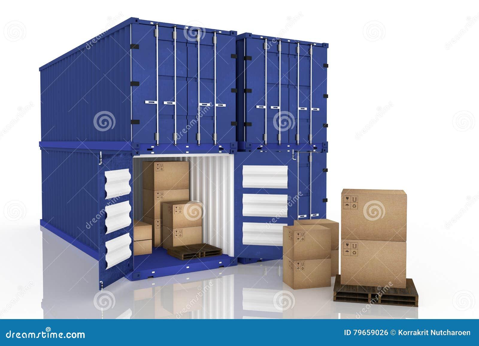 Rendição 3D: a ilustração do recipiente quatro com um abriu caixas do recipiente e de cartão dentro do recipiente exportação do n