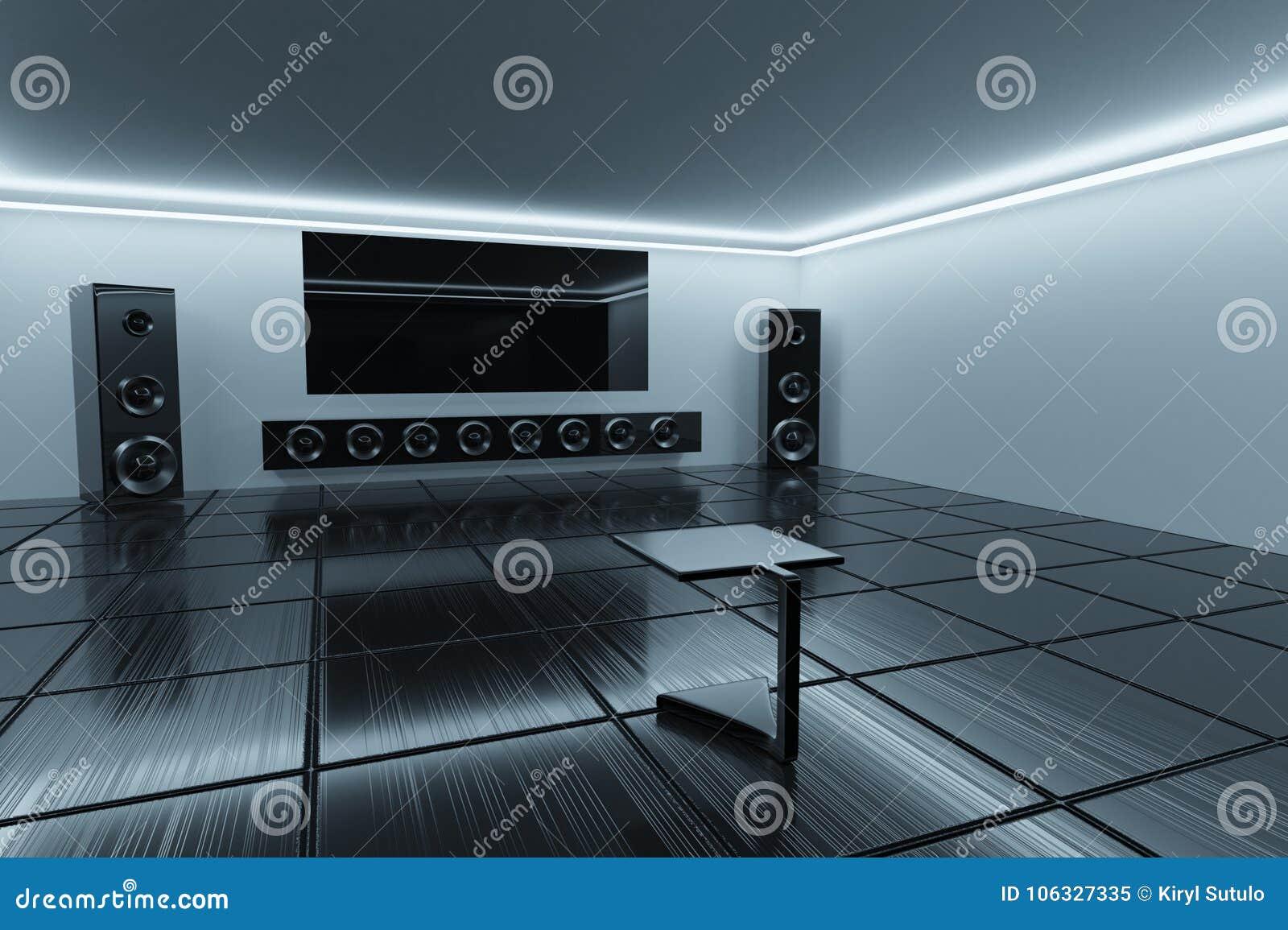 Rendição 3d Interior de Minimalistic Sala de escuta