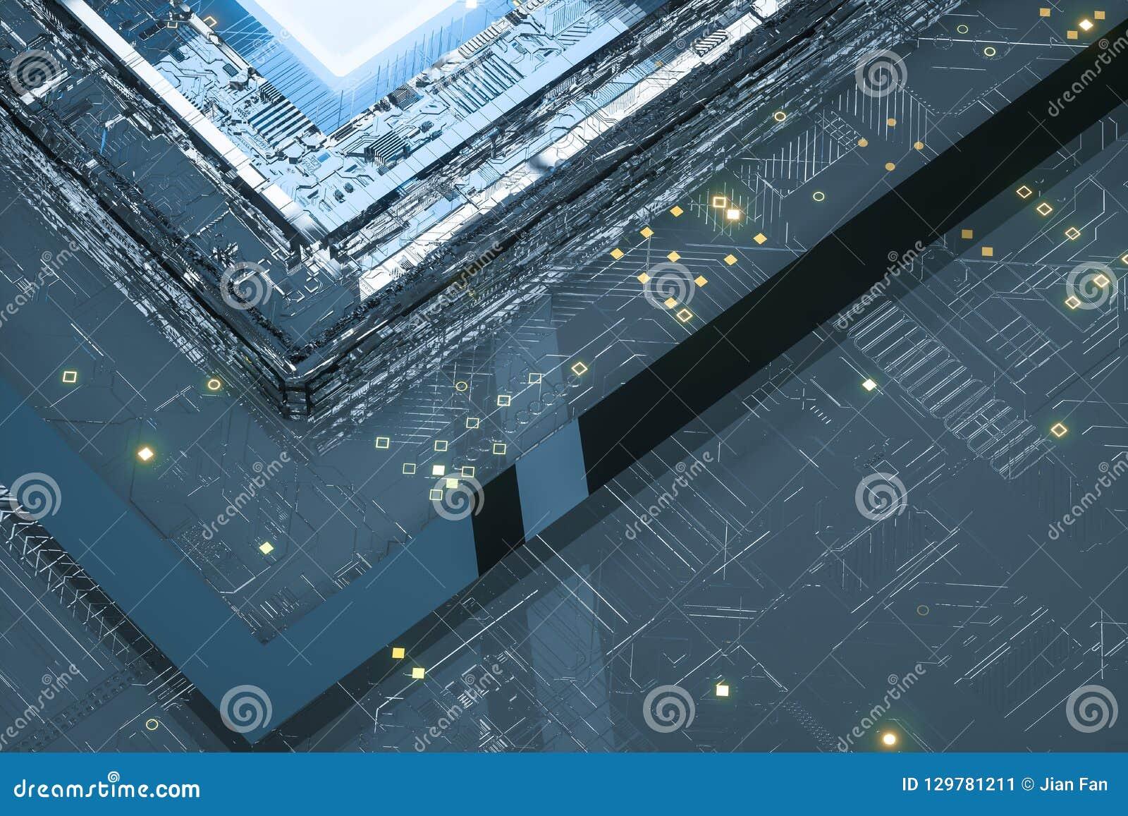 Rendição 3d, placa de circuito e microplaqueta azul do fulgor