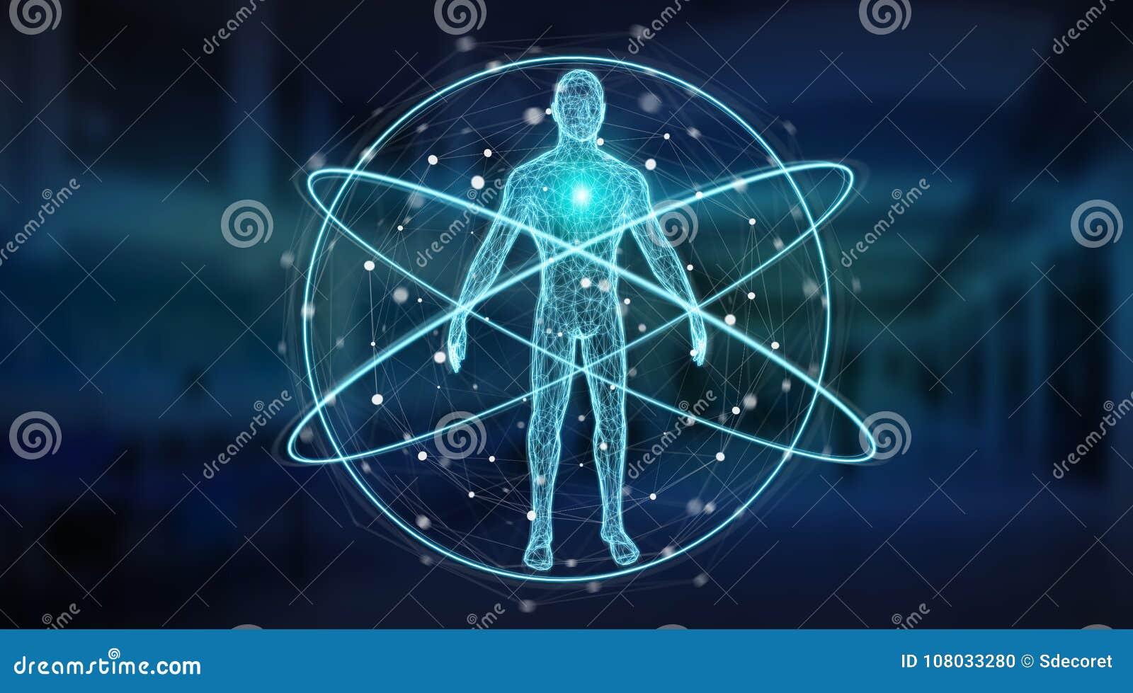 Rendição da relação 3D do fundo da varredura do corpo humano do raio X de Digitas