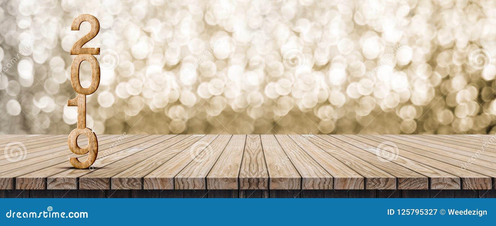 2019 rendição de madeira do número 3d do ano novo feliz na sagacidade de madeira da tabela