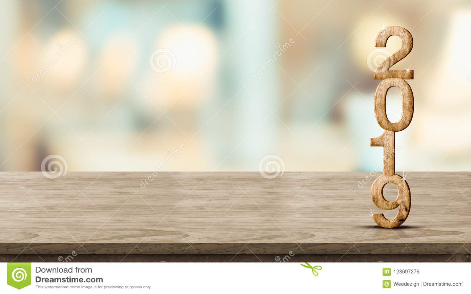 Rendição de madeira do número 3d do ano novo 2019 na tabela de madeira no borrão