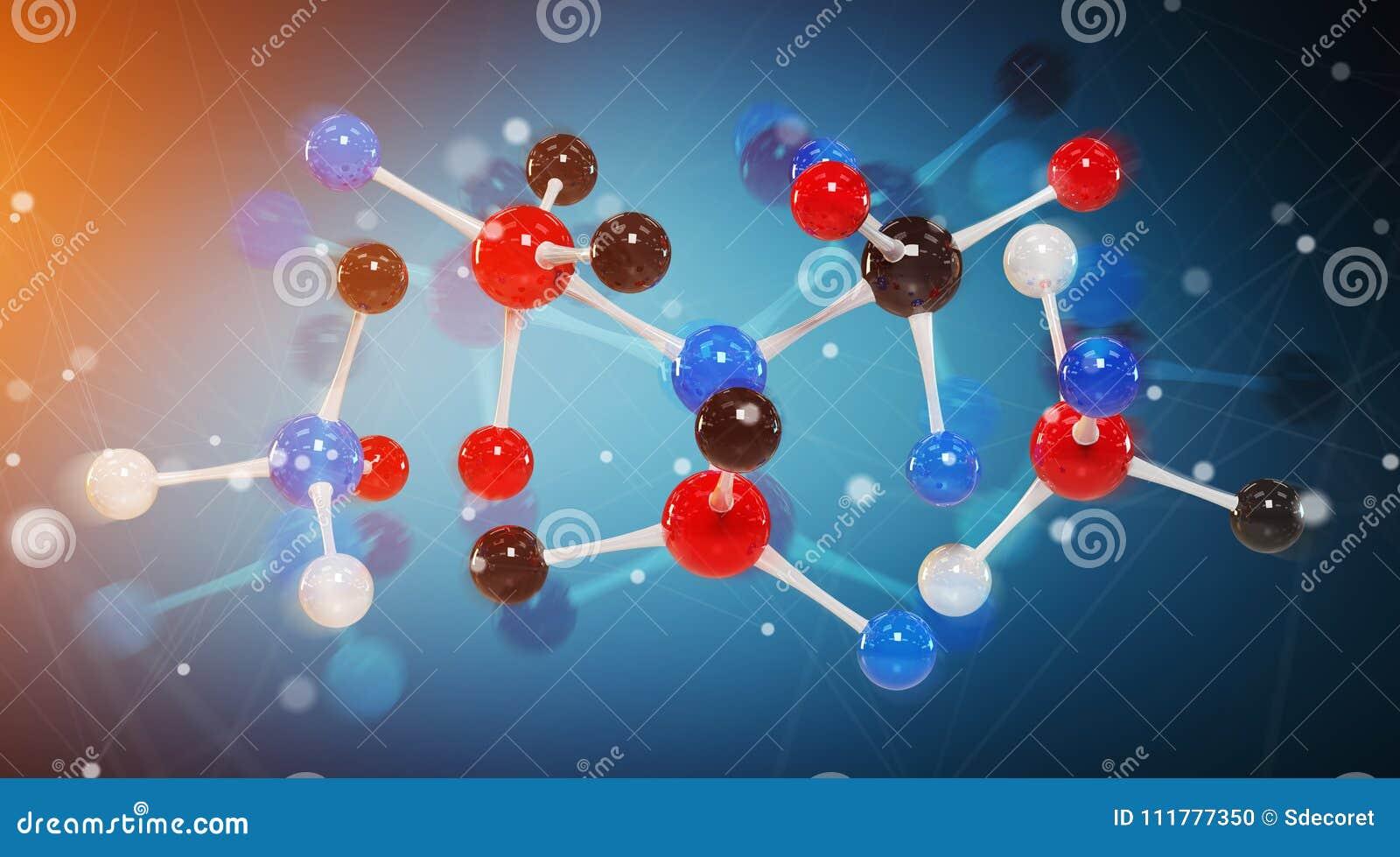 Rendição digital moderna da estrutura 3D da molécula