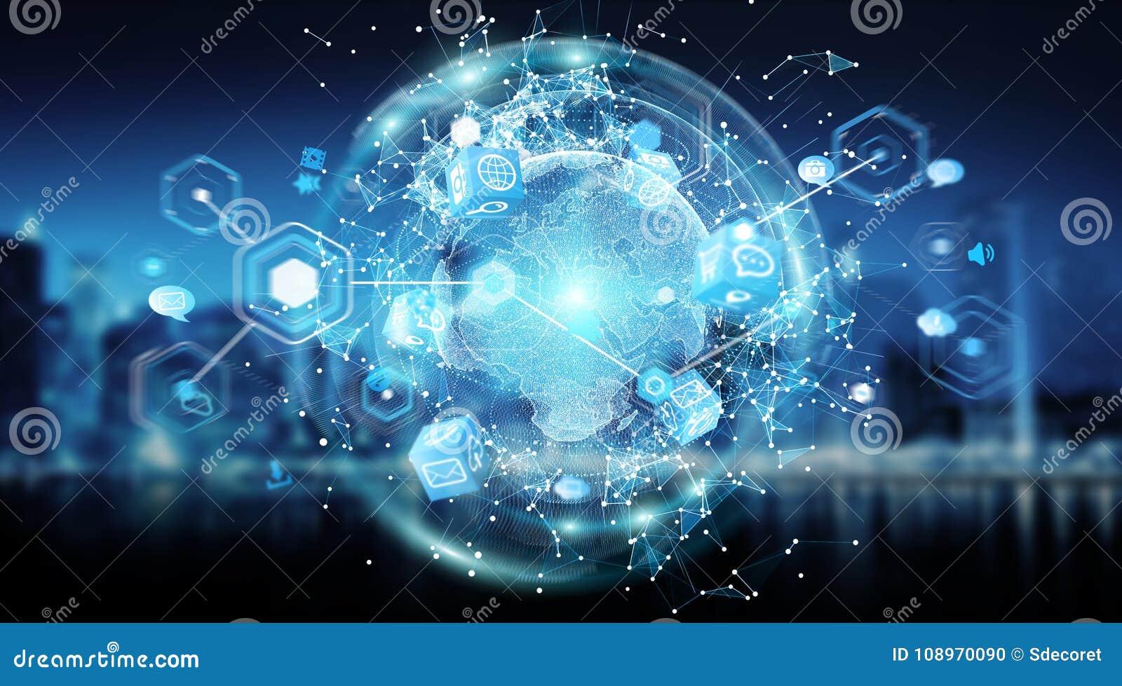Rendição global da visão mundial 3D do sistema das conexões