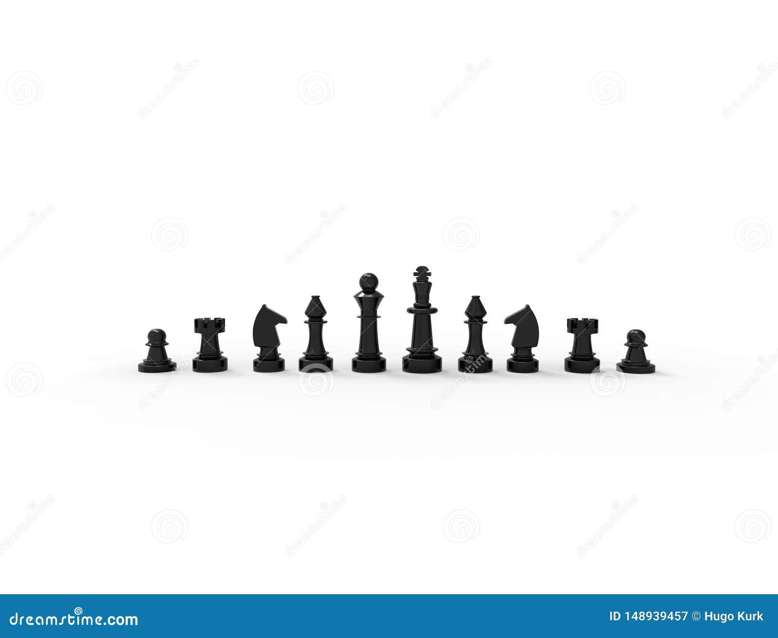 Rendi??o 3D das partes de xadrez pretas isoladas no fundo branco