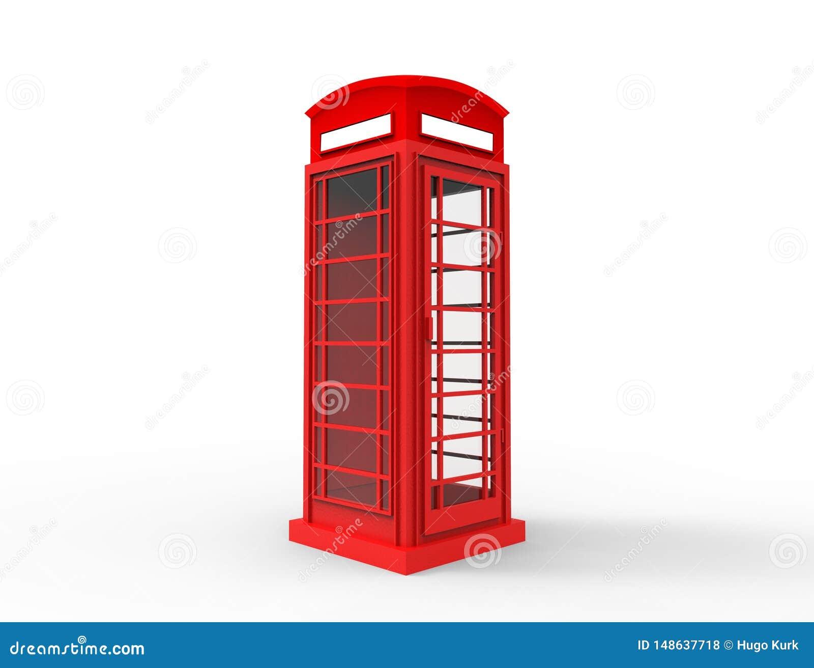 Rendi??o 3D de um telephonebooth cl?ssico vermelho no fundo branco
