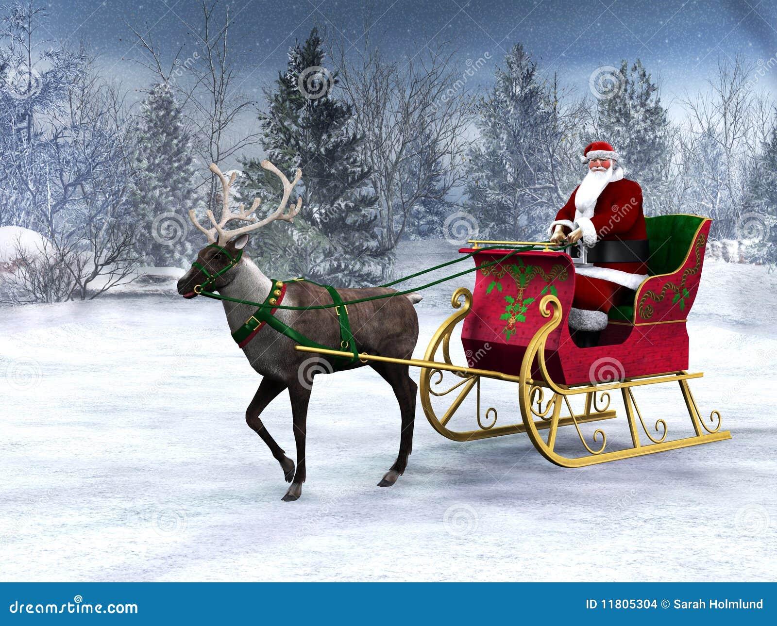 Betere Rendier Dat Een Ar Met De Kerstman Trekt. Stock Illustratie CA-81