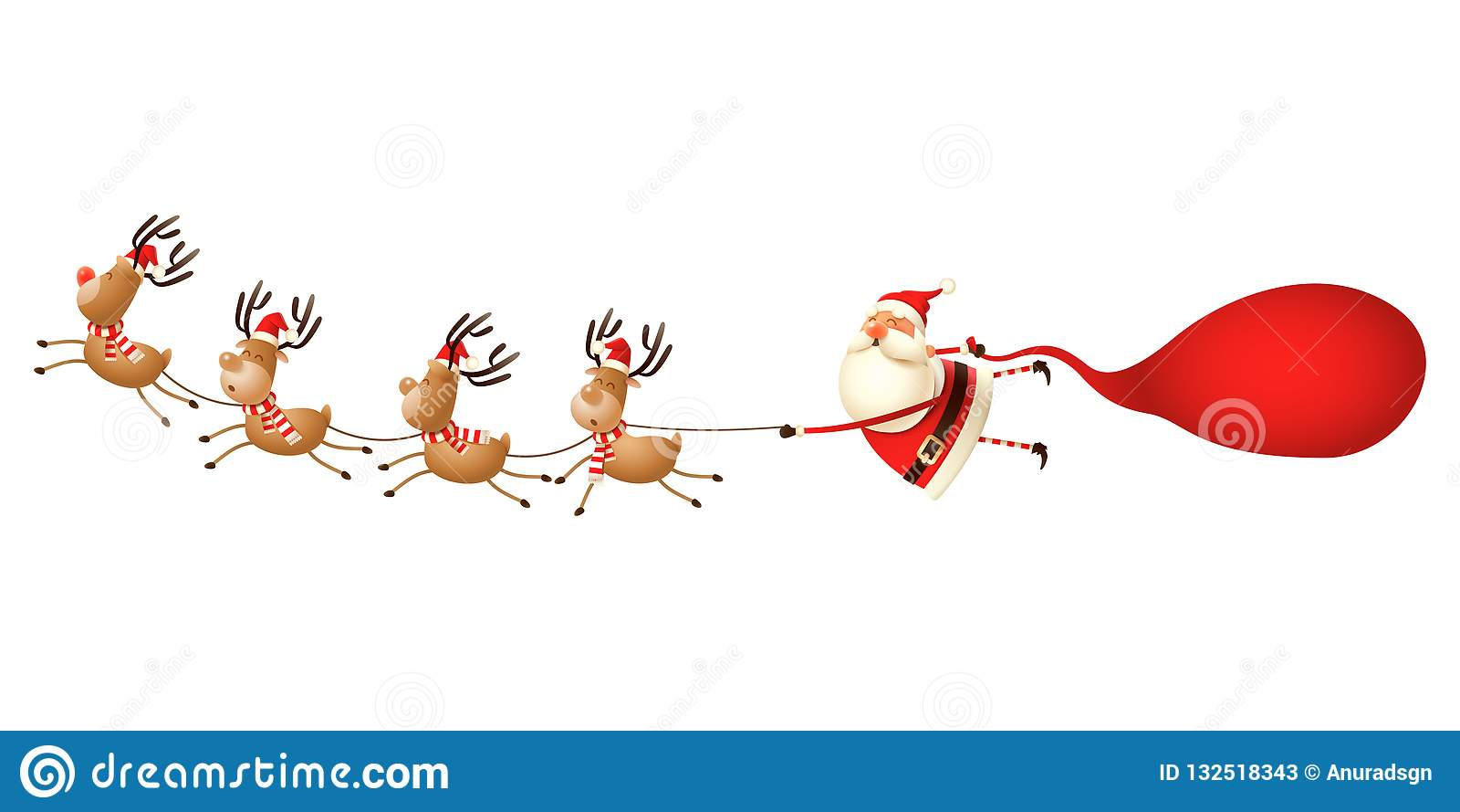 Rendier die Santa Claus trekken - leuke grappige die Kerstmisillustratie op wit wordt geïsoleerd