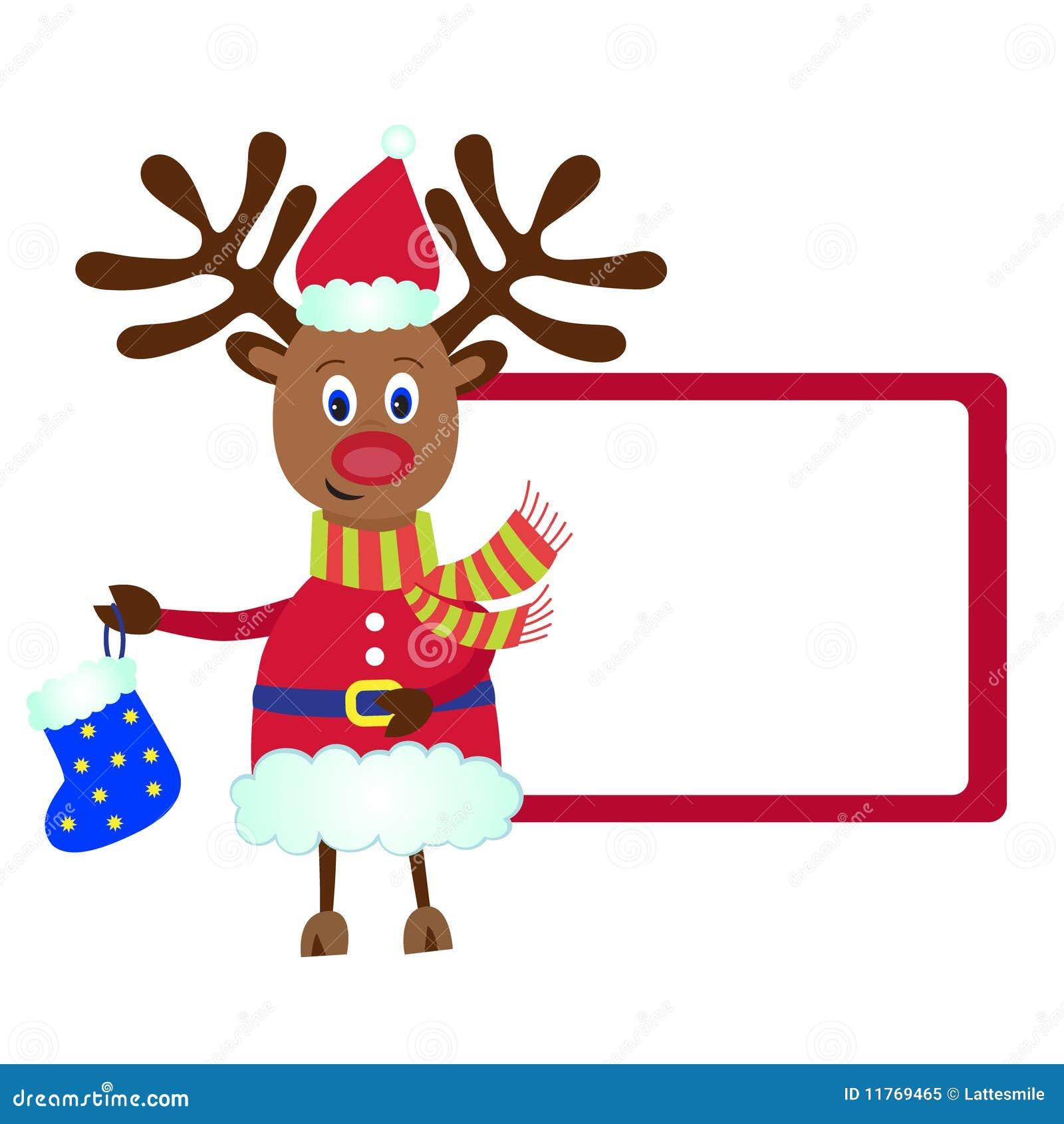 Rendier Rudolf Met De Gift Van Kerstmis Vector Illustratie