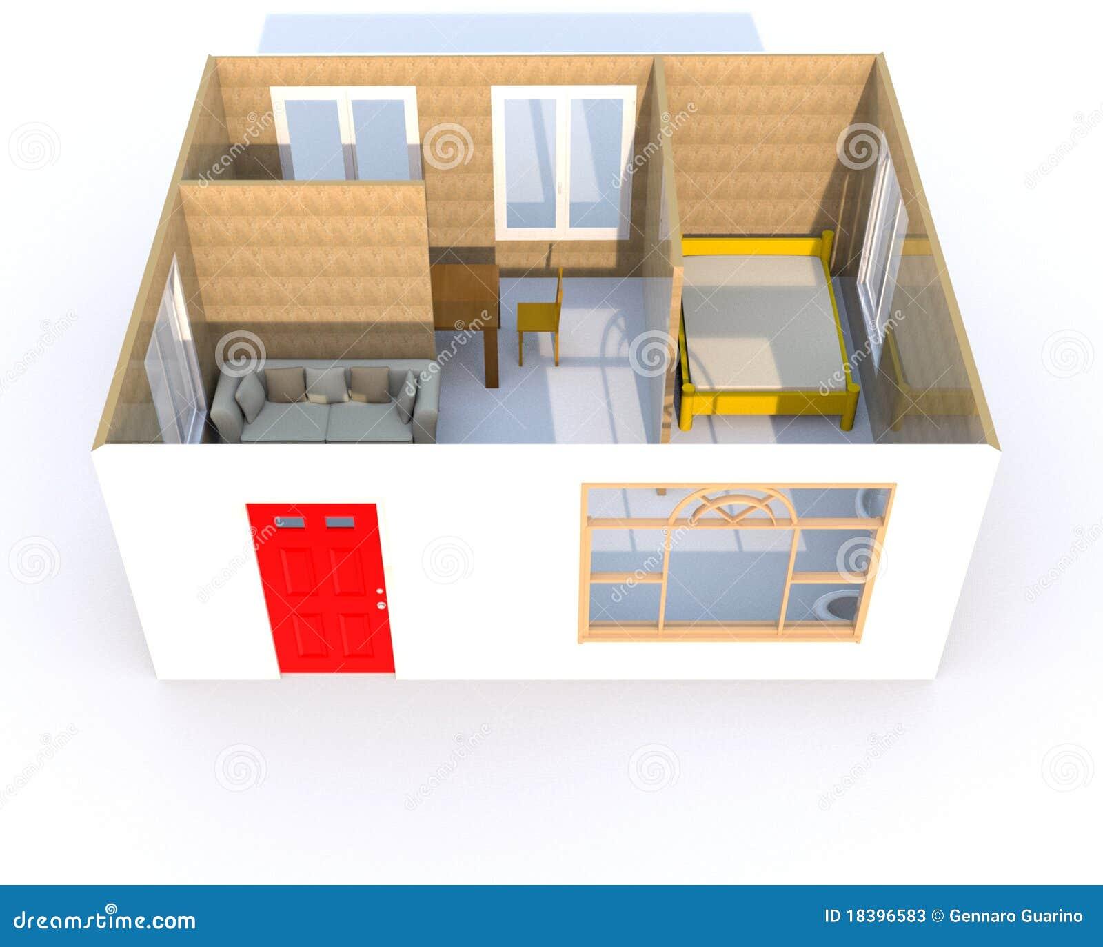 Rendu 3d d 39 une petite maison illustration de vecteur for Amnagement maison 3d