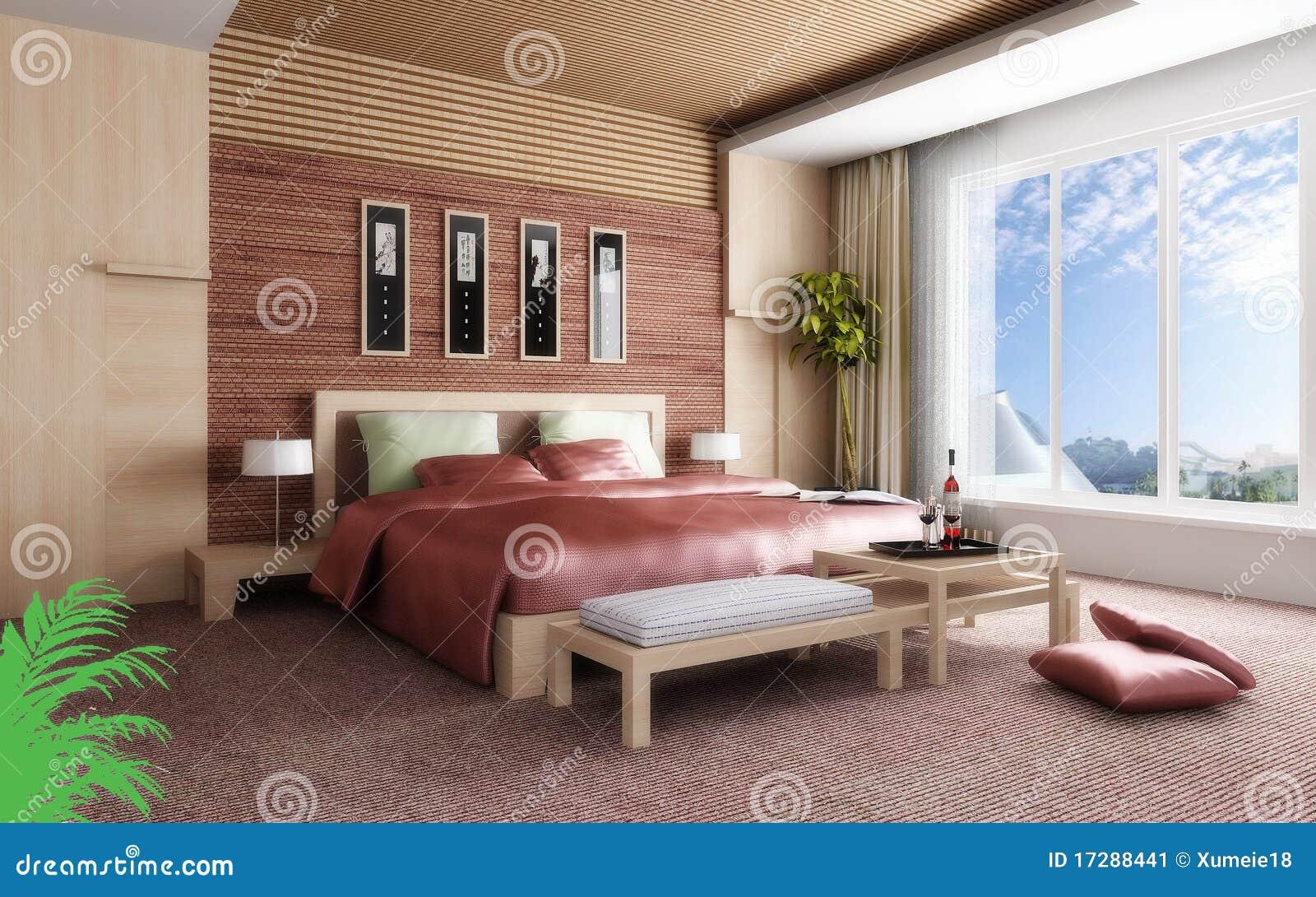 Rendu 3d de la chambre coucher la maison image stock for Chambre 0 coucher