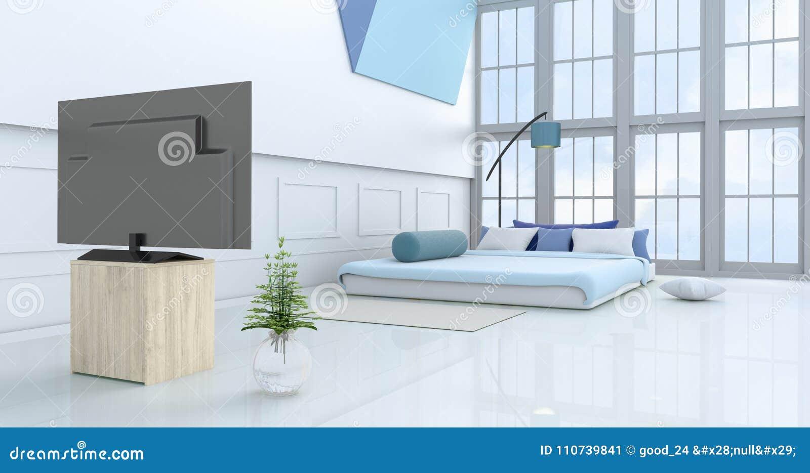 Rendu Blanc-bleu De La Chambre à Coucher 3d Illustration ...