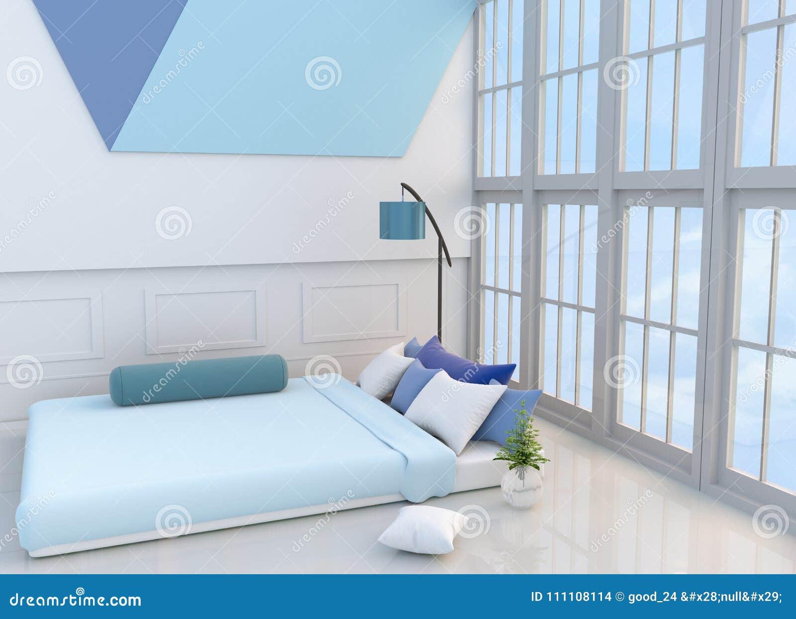 Chambre à Coucher Blanc Bleue Décorée Du Lit Bleu Clair, Arbre Dans Le Vase  En Verre, Oreillers, Table De Chevet, Fenêtre, Lampe Bleue, Le Traversin,  TV, ...