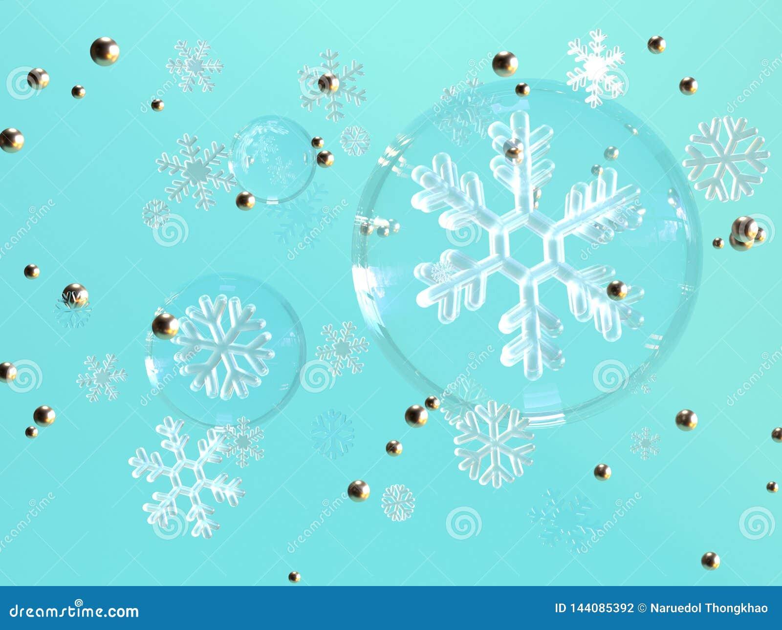 Rendu bleu de la lévitation 3d de flocon de neige de sphère d espace libre de fond