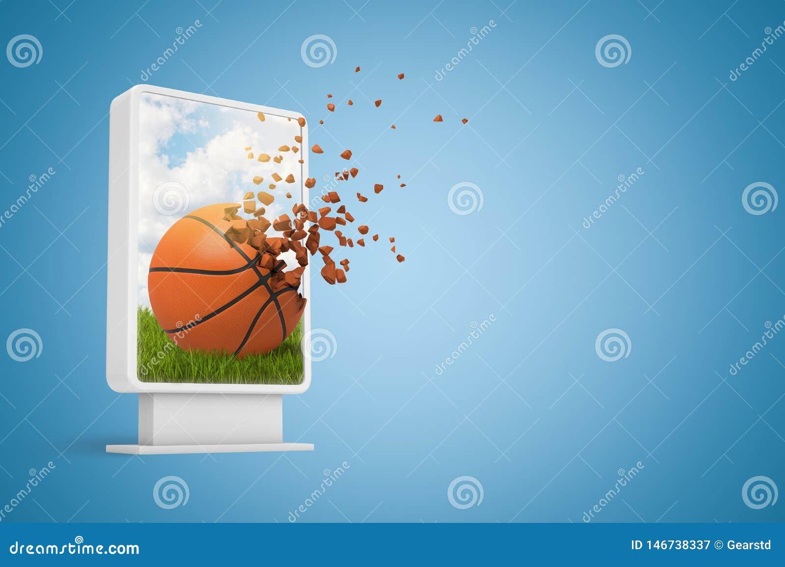 Rendu 3d d affichage d informations numériques montrant le basket-ball commençant à se dissoudre dans les particules sur le bleu
