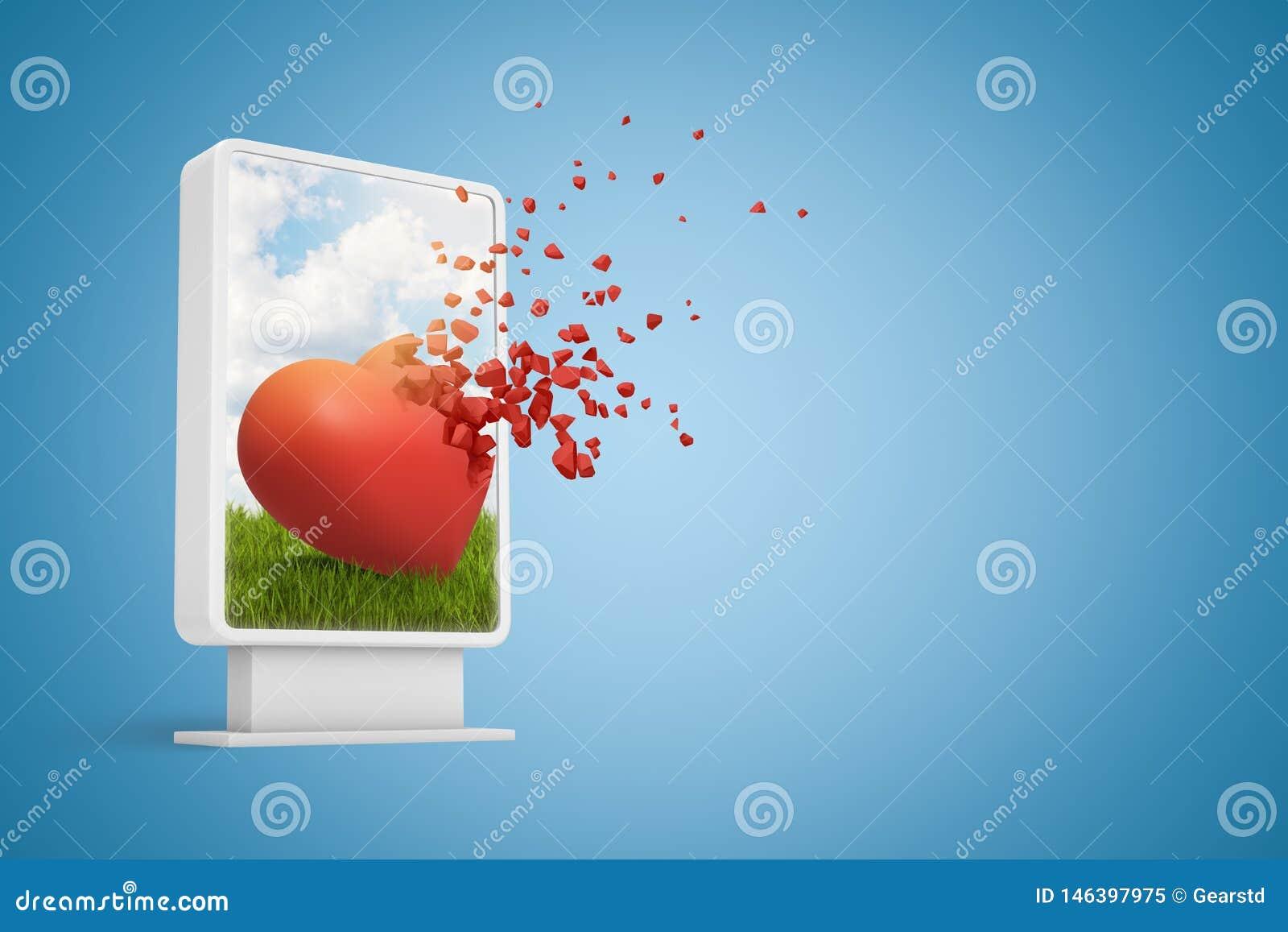 Rendu 3d d affichage d informations numériques montrant le coeur rouge mignon commençant à se dissoudre dans les particules, sur