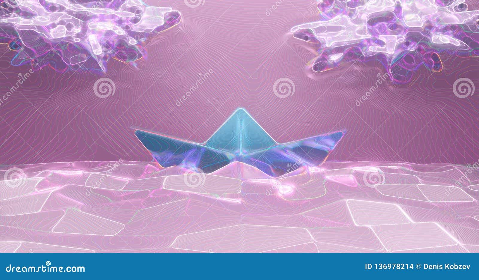 Rendu 3d Bateau de papier fait de papier léger sur le fond de la bas-poly mer et des nuages de couleur rose-clair Résumé