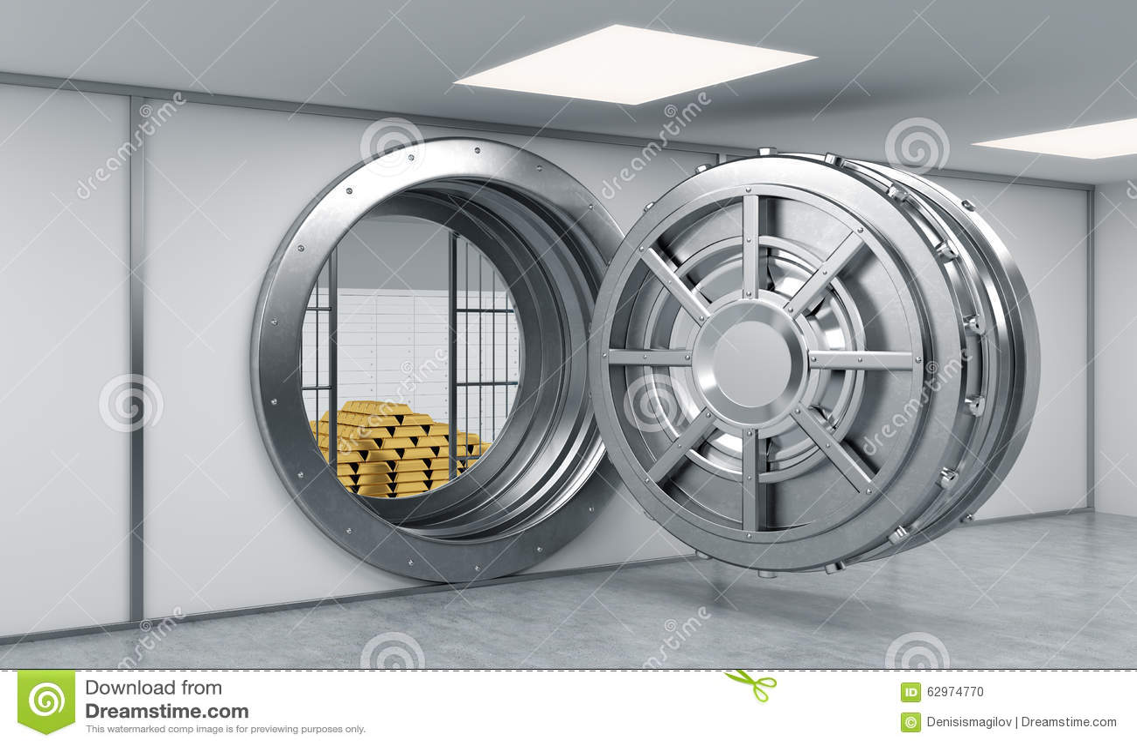 rendu 3d d un grand coffre fort rond ouvert en m 233 tal dans un d 233 p 244 t de banque illustration stock