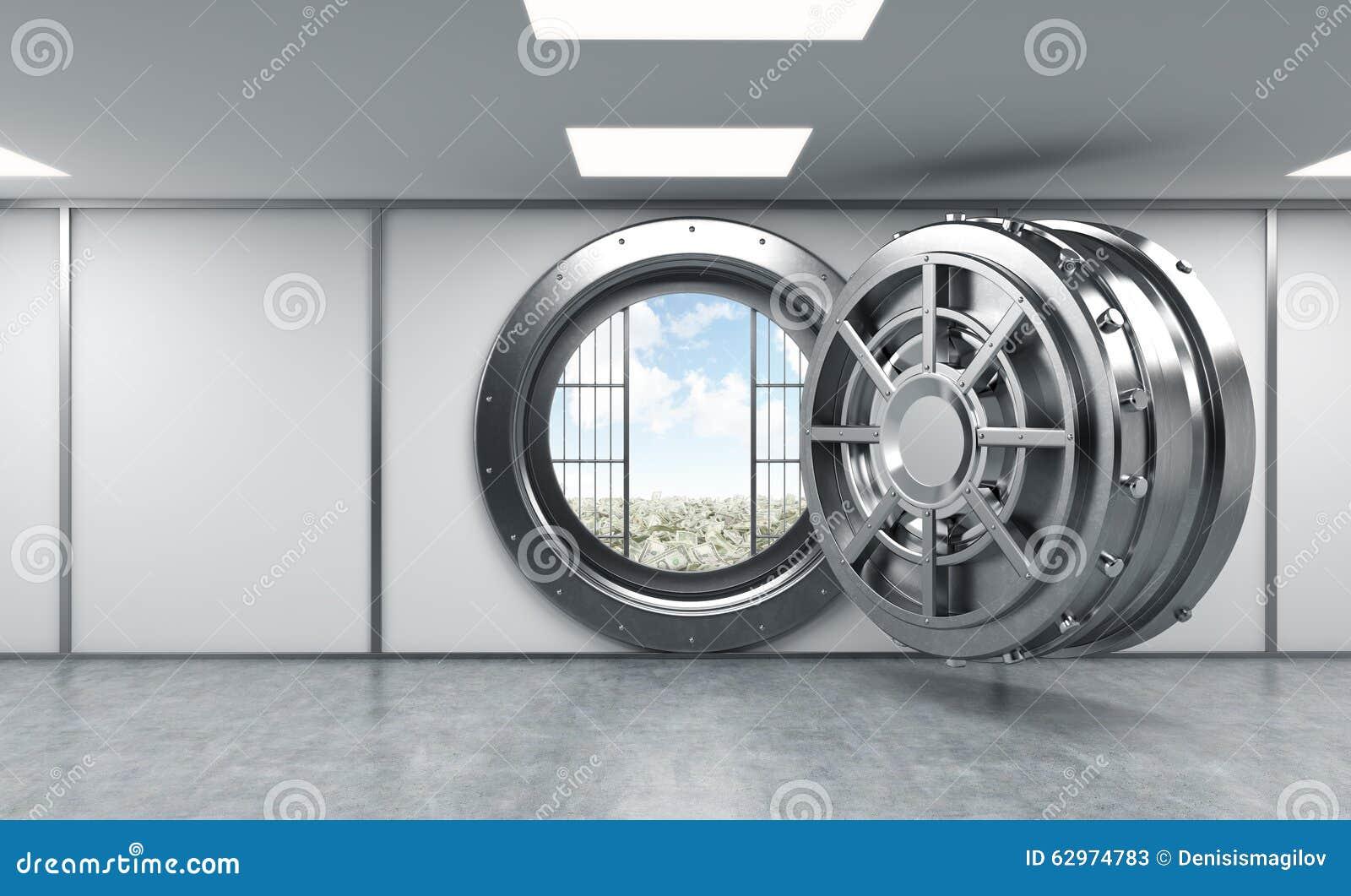 Rendu 3d d 39 un grand coffre fort rond ouvert en m tal dans un d p t de ban - Location d un coffre a la banque ...
