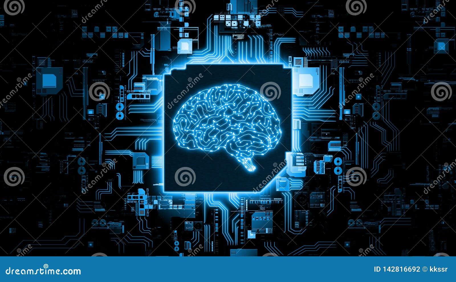 Rendu 3D de concept de mat?riel d intelligence artificielle Circuit bleu rougeoyant de cerveau sur la puce sur la carte m?re d or