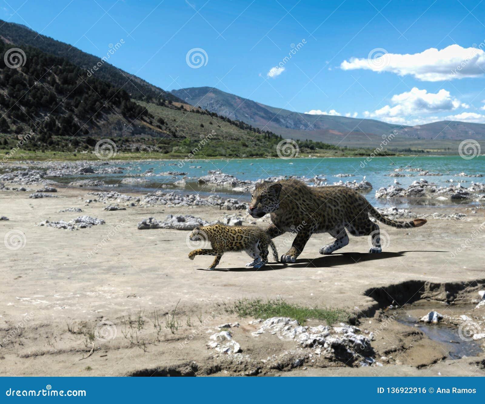 Rendu 3d de jaguar et de bébé
