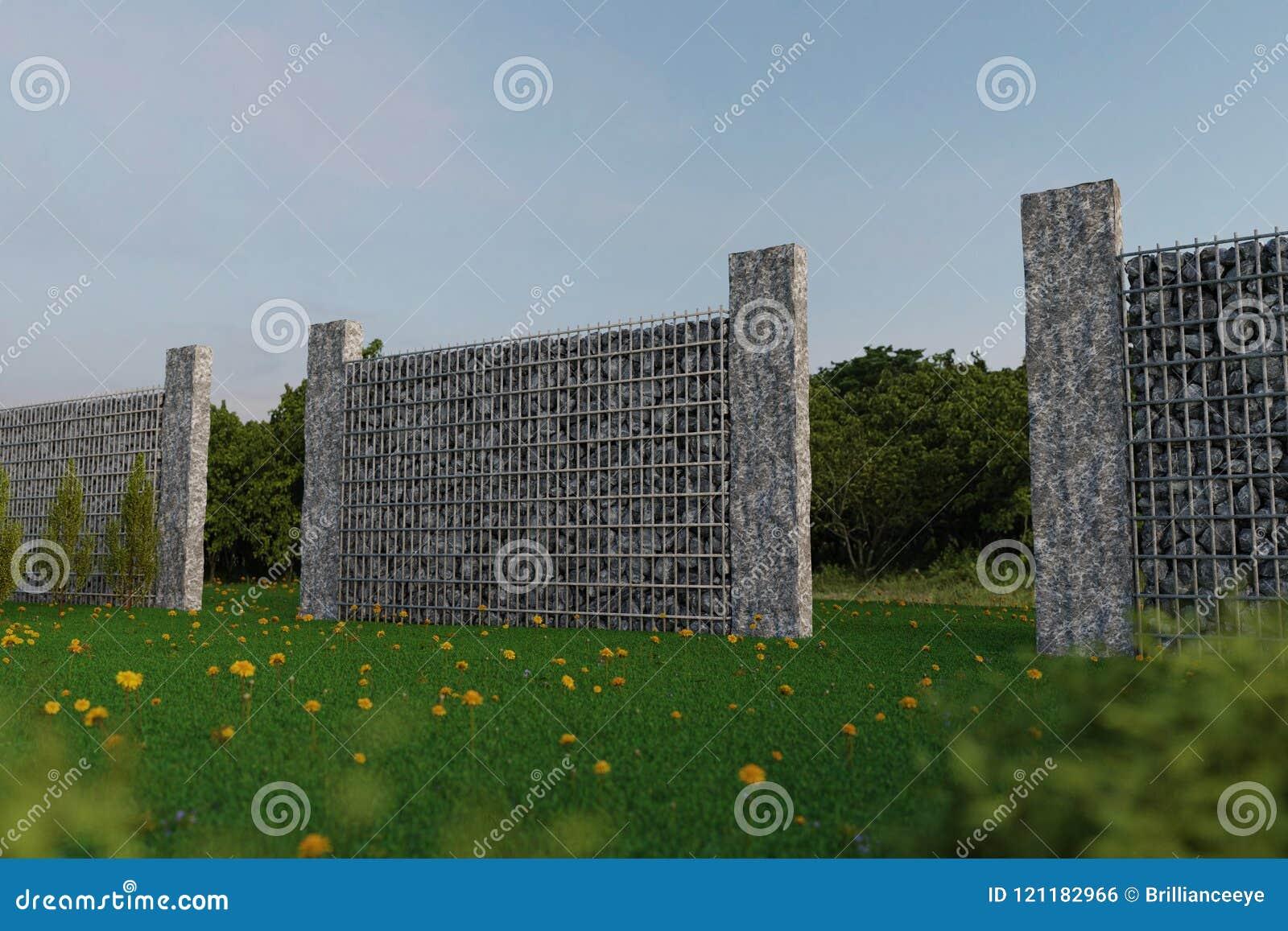 Rendu 3d De Jardin Vert Avec Le Mur De Gabion Et La Palissade De ...