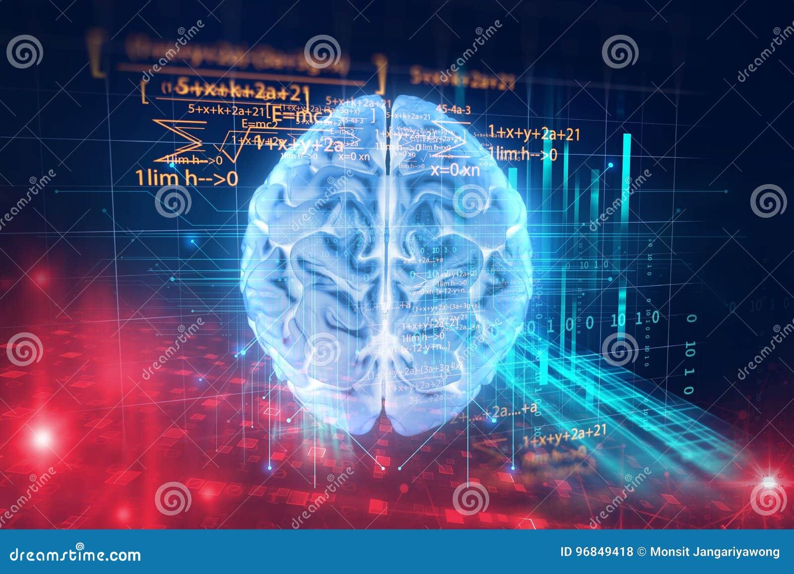 Rendu 3d de l esprit humain sur le fond de langage de programmation
