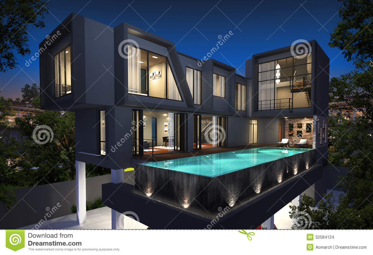 Rendu 3d de l 39 ext rieur tropical de maison illustration stock image 32584124 for Exterieur maison 3d