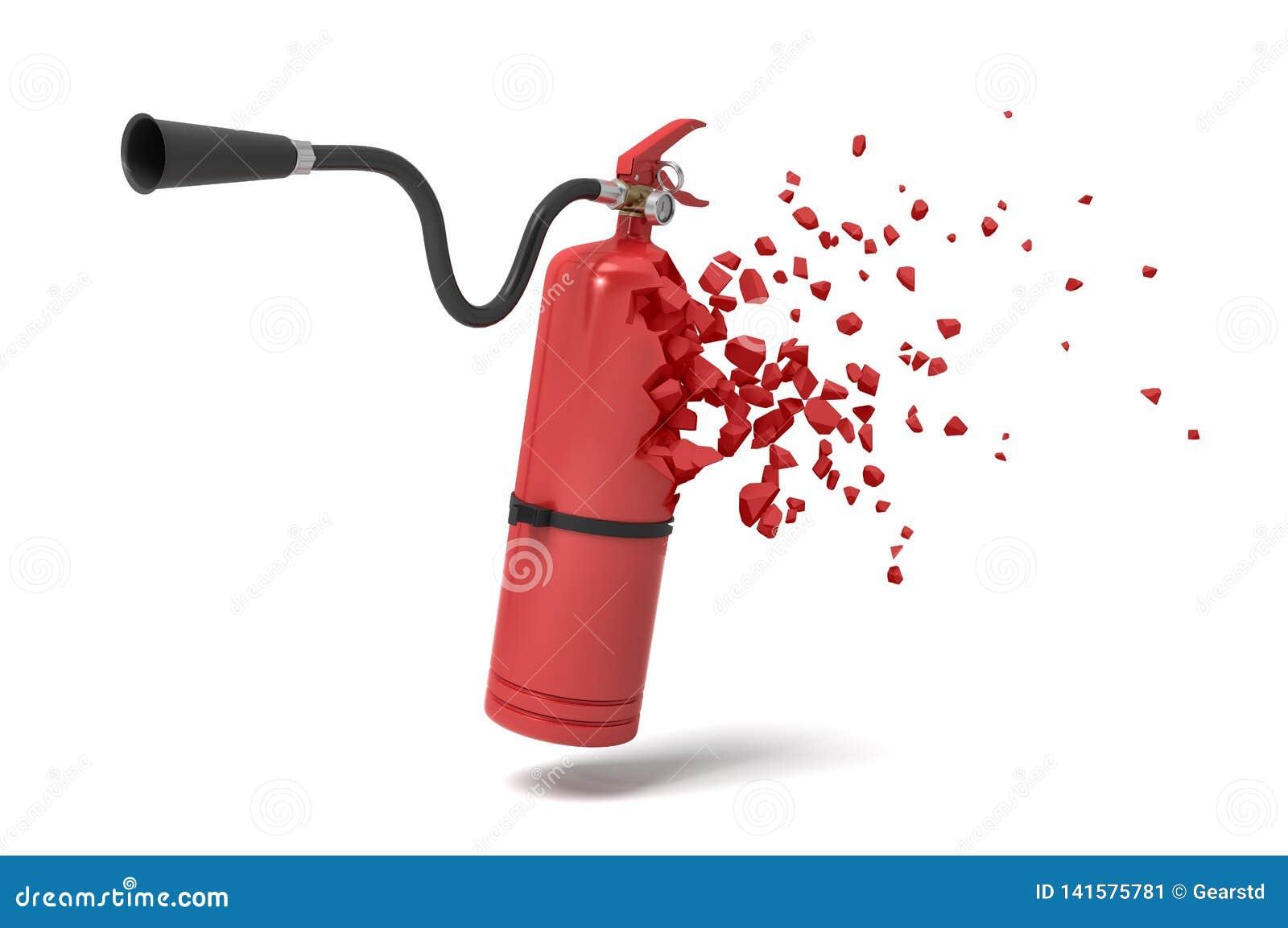 Rendu 3d de l extincteur rouge commençant à se dissoudre dans des particules sur le fond blanc