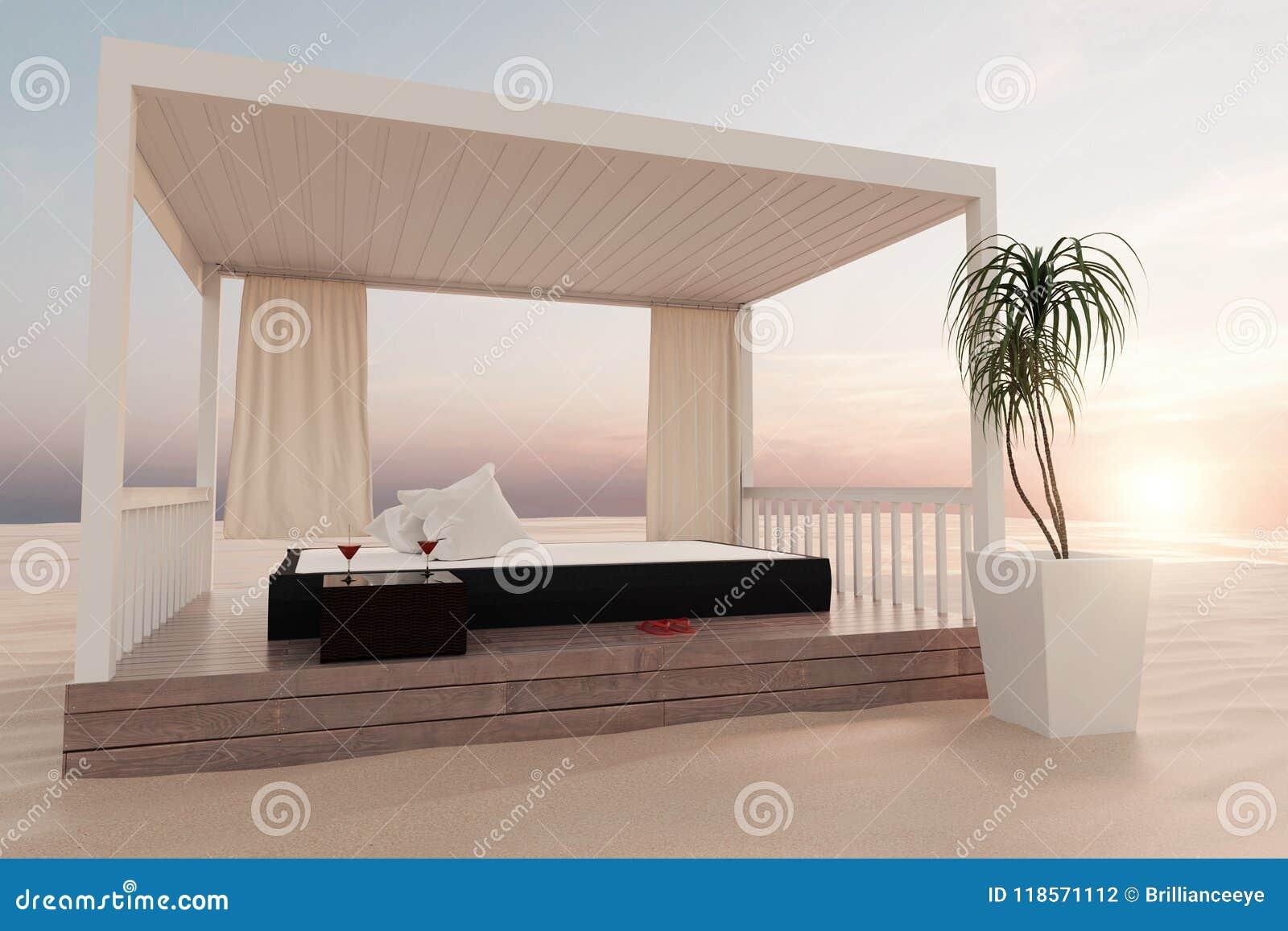 Lit Exterieur Design rendu 3d de patio en bois avec le lit à la plage de sable