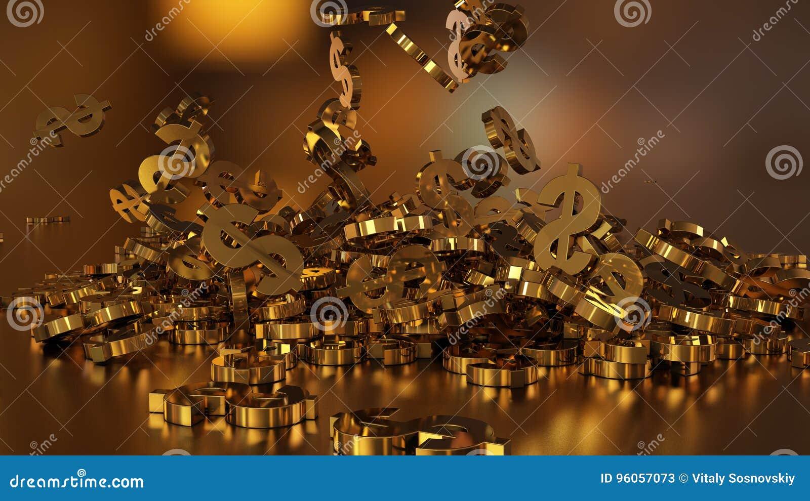 Rendu 3d des signes en baisse des dollars