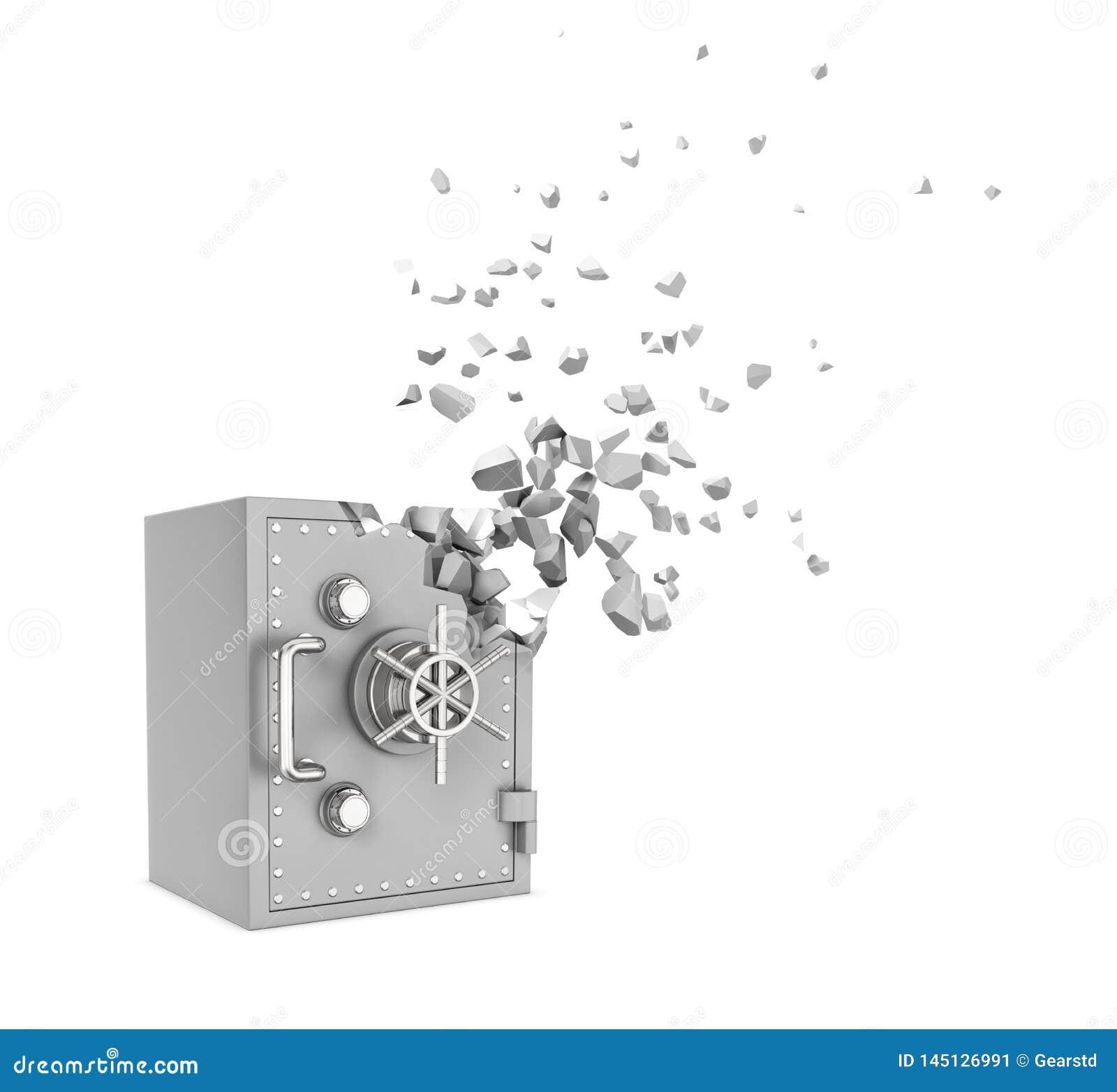 Rendu 3d du coffre-fort gris en m?tal commen?ant ? se dissoudre dans des particules et ? dispara?tre d isolement sur le fond blan