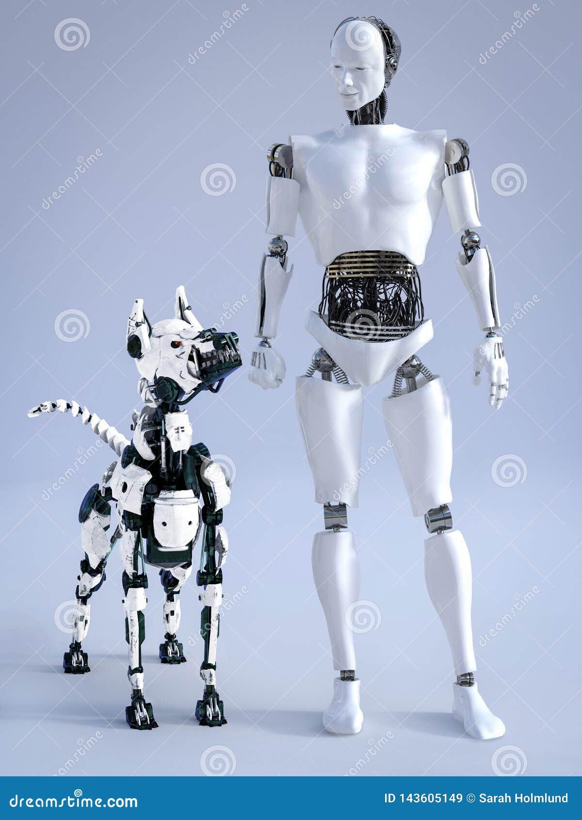 Rendu 3D du robot masculin avec un chien futuriste de robot