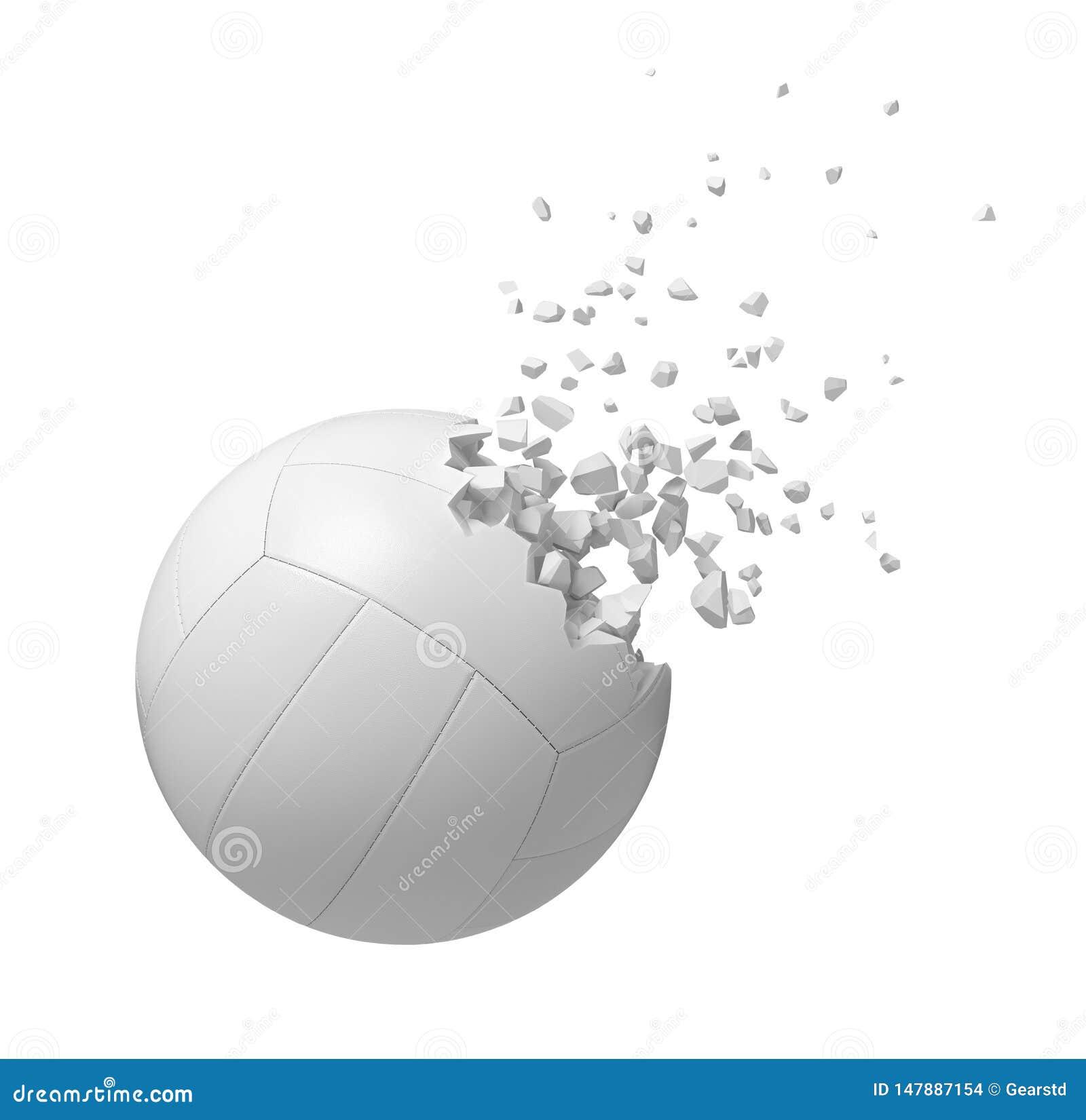 Rendu 3d du volleyball blanc commen?ant ? se dissoudre dans des particules d isolement sur le fond blanc