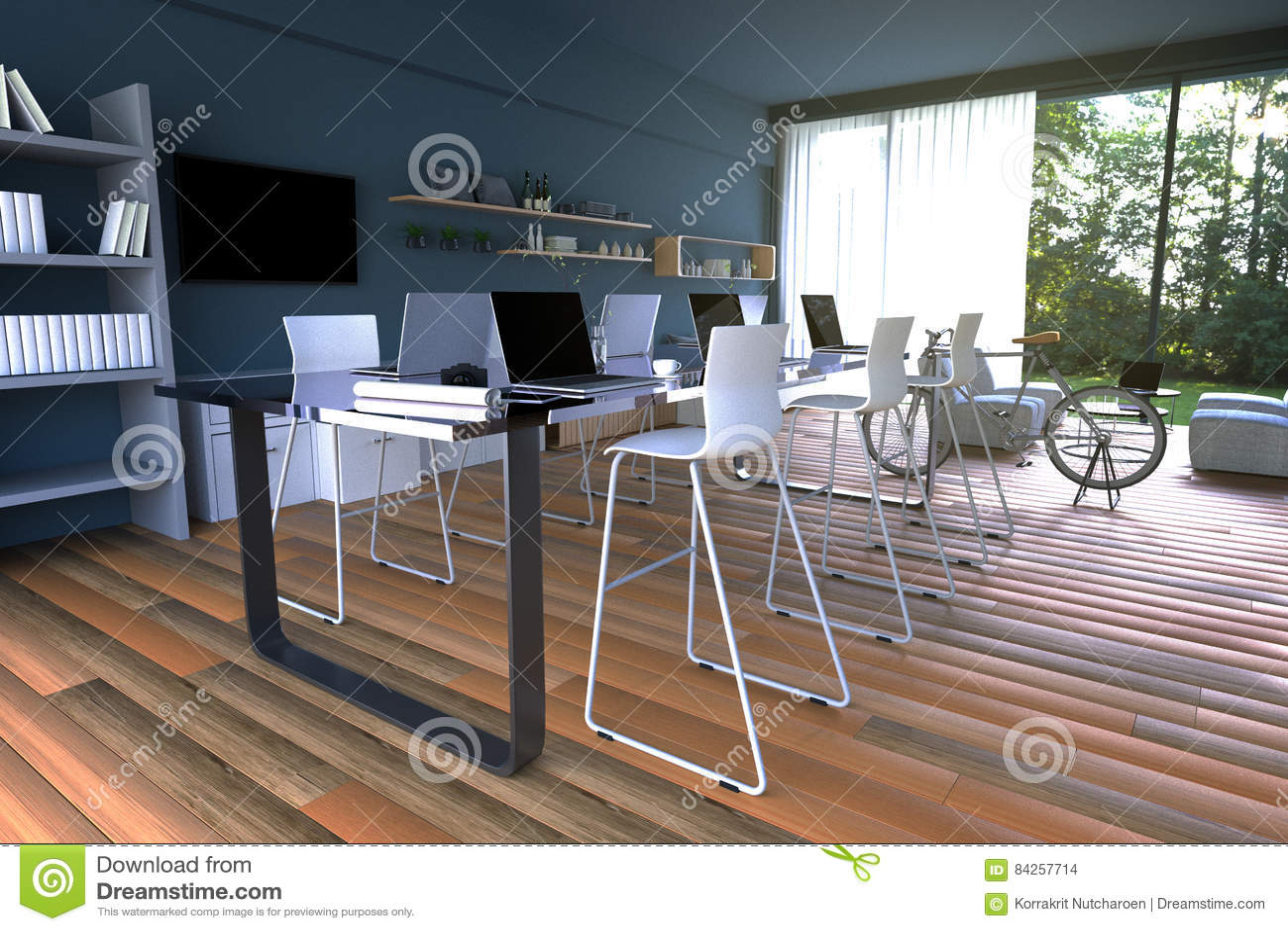 Site Internet Decoration Intérieure rendu 3d : illustration d'intérieur de décoration de café de